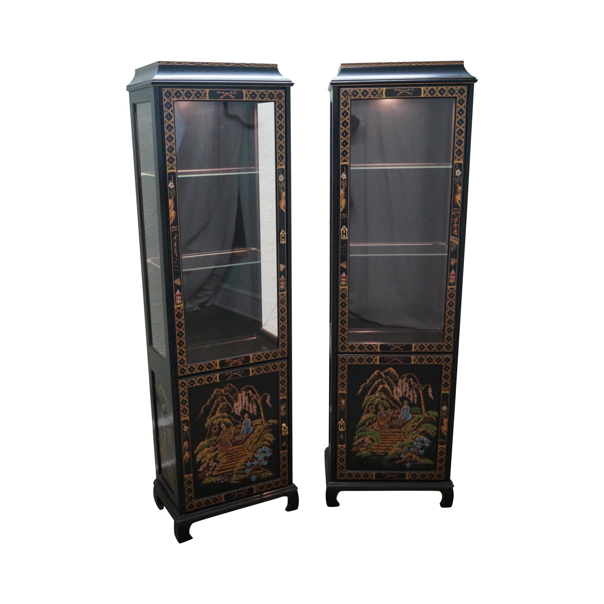 Jasper Curio Cabinet Jasper Chinoiserie Oriental Curio Cabinets Pair Chairish