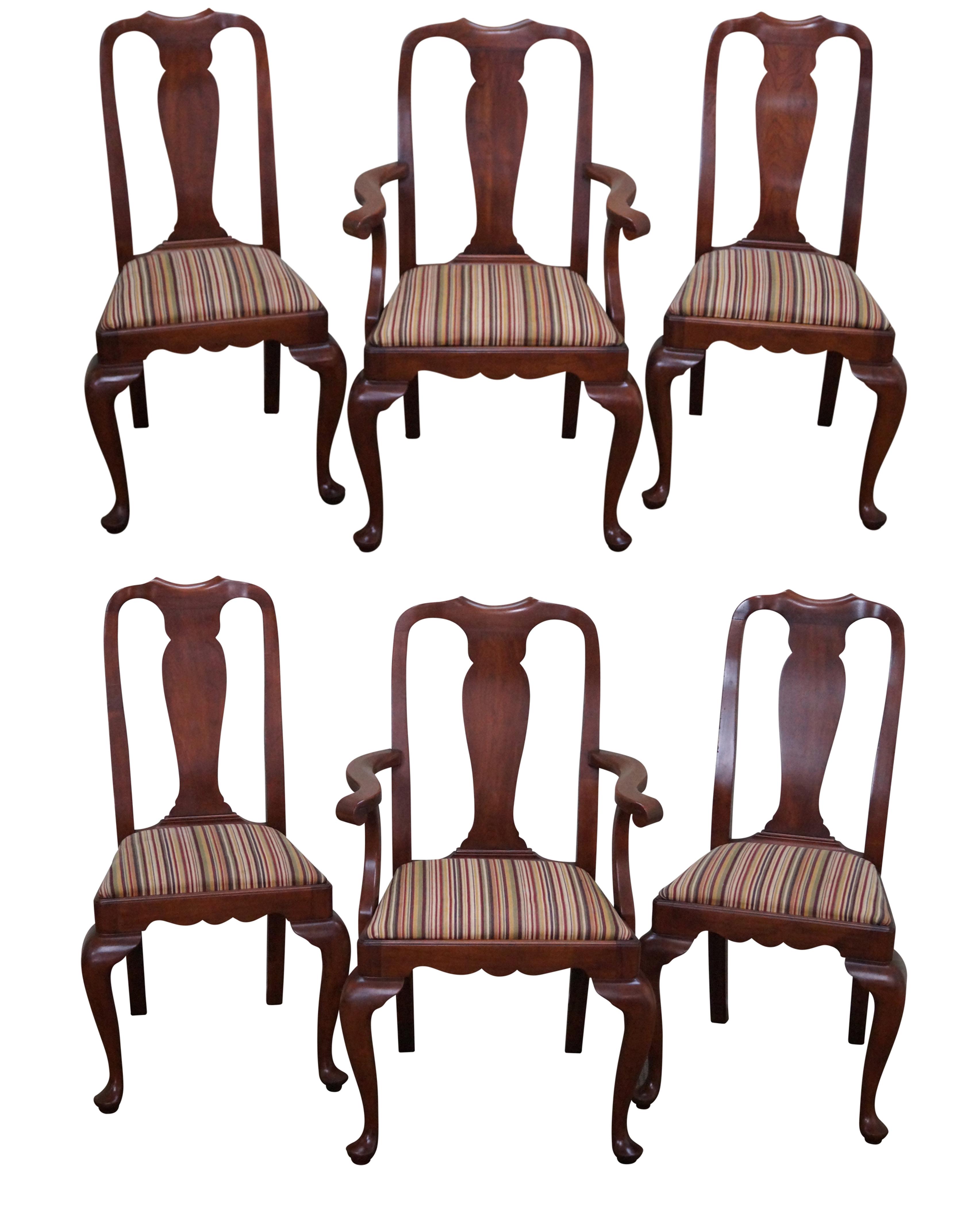 Queen Anne Dining Room Chairs: Henkel Harris Cherry Queen Anne Dining Chairs - 6