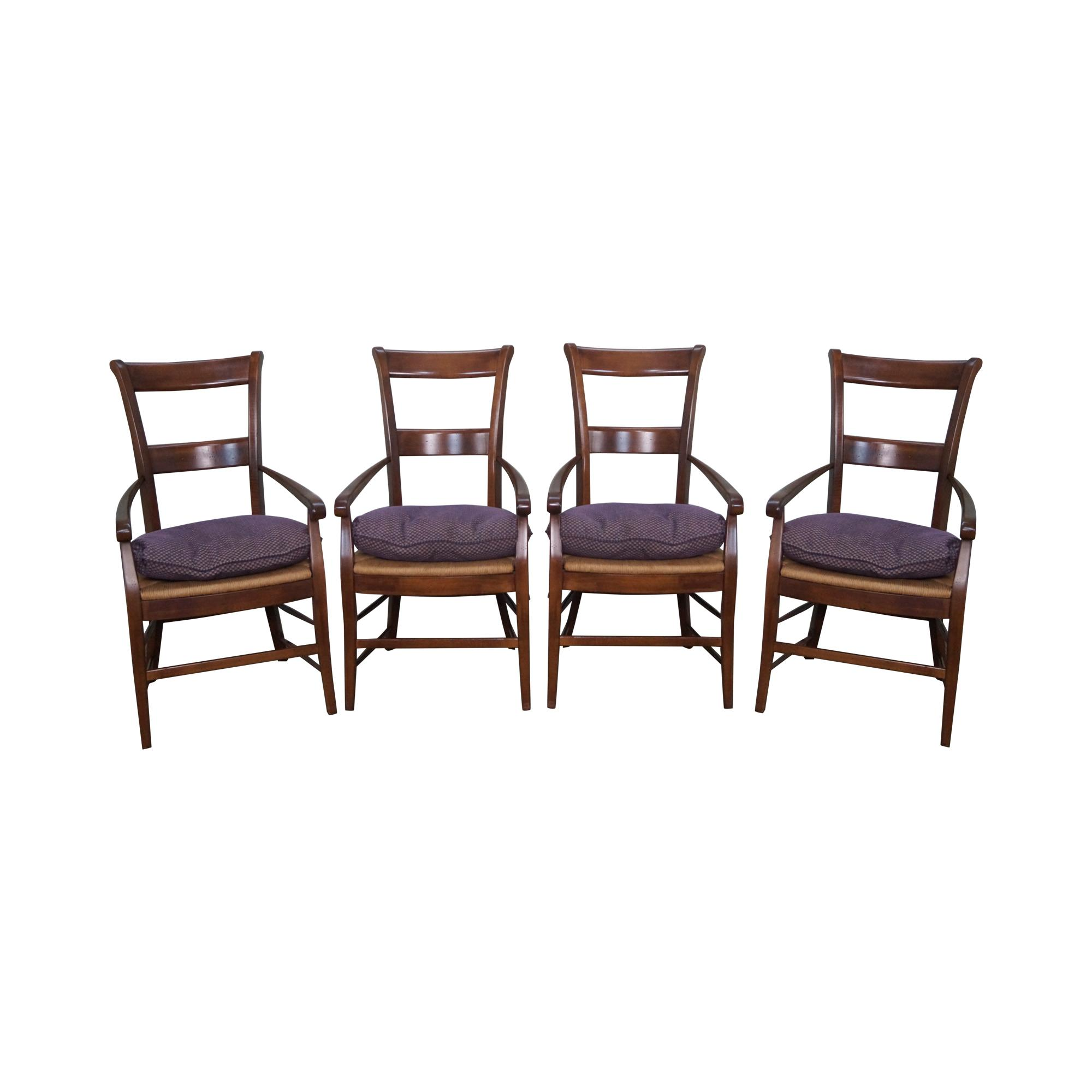 French Country Rush Seat Dining Chairs Set Of 4 Chairish