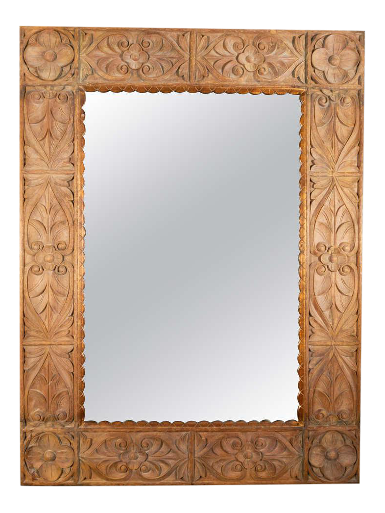 Antique designer asian antique wall mirrors decaso monumental vintage indonesian lotus mirror in hand carved teak wood amipublicfo Choice Image