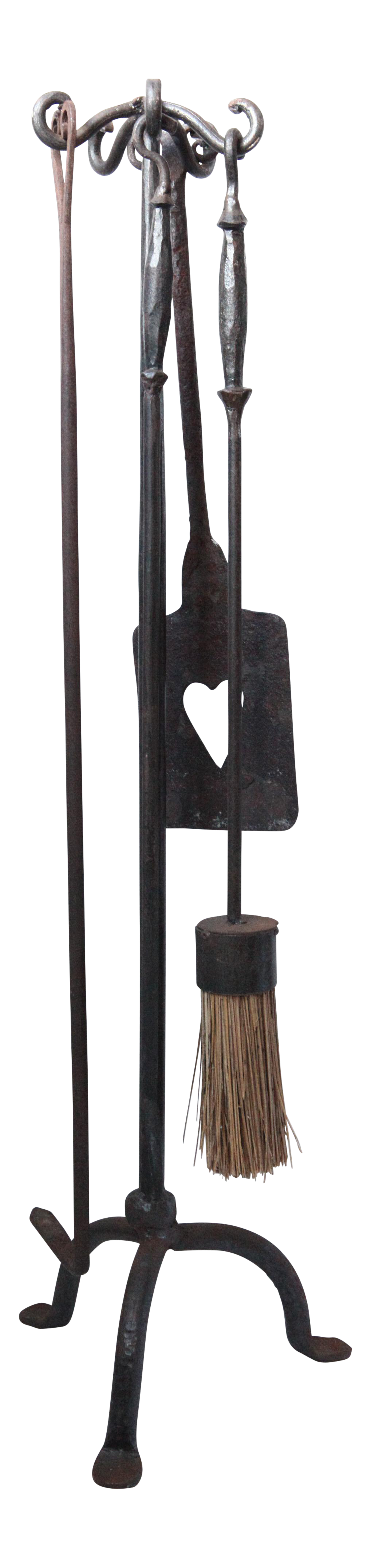 vintage artisan iron fireplace accessories with heart shovel set