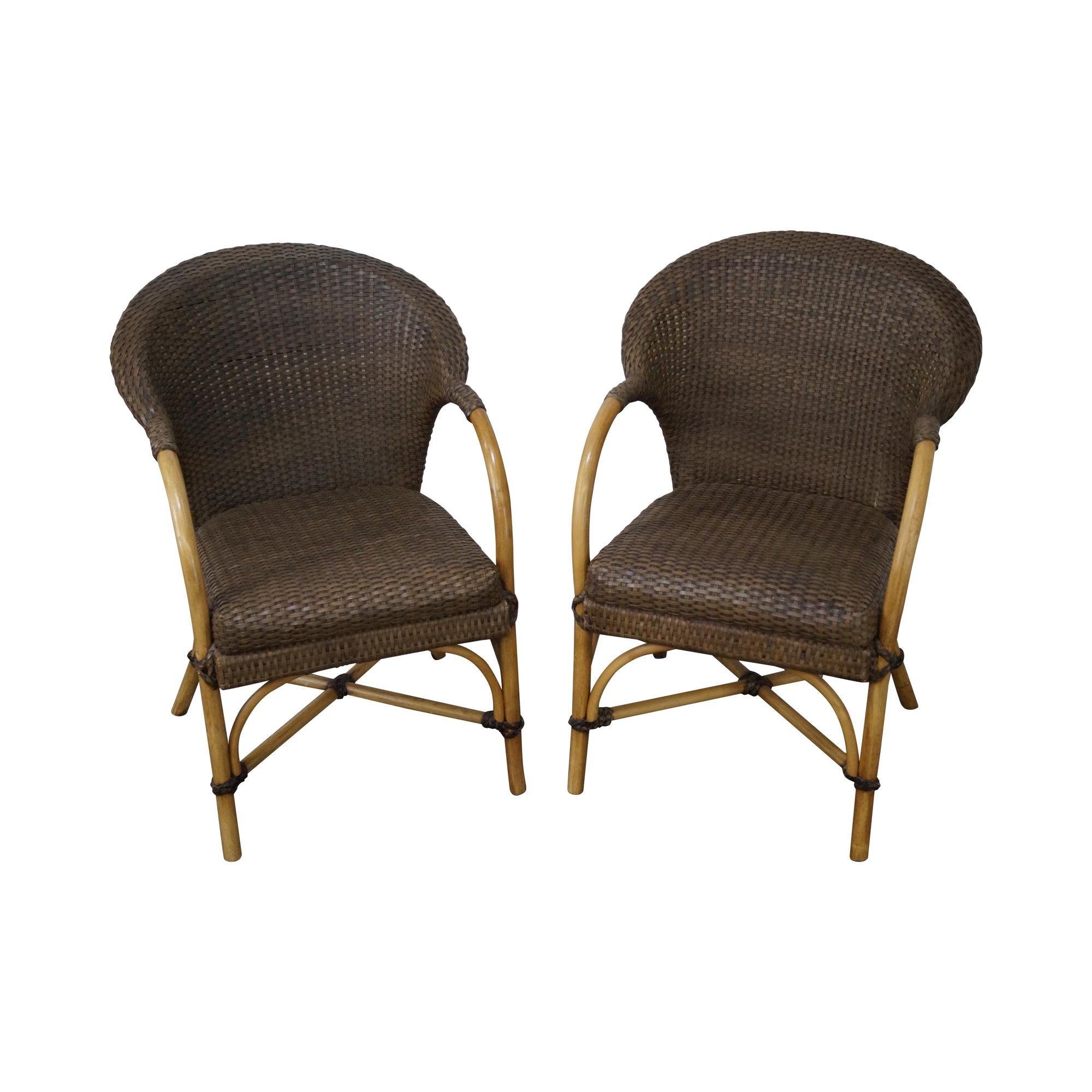 Bamboo Chair With Arms: Vintage Leather Bamboo Rattan Frame Arm Chairs