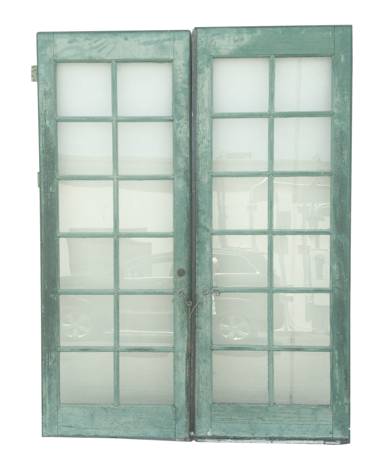 1555 #567567 Vintage Painted French Doors 12 Pane Glass Pair Chairish wallpaper 3ft French Doors 46651276
