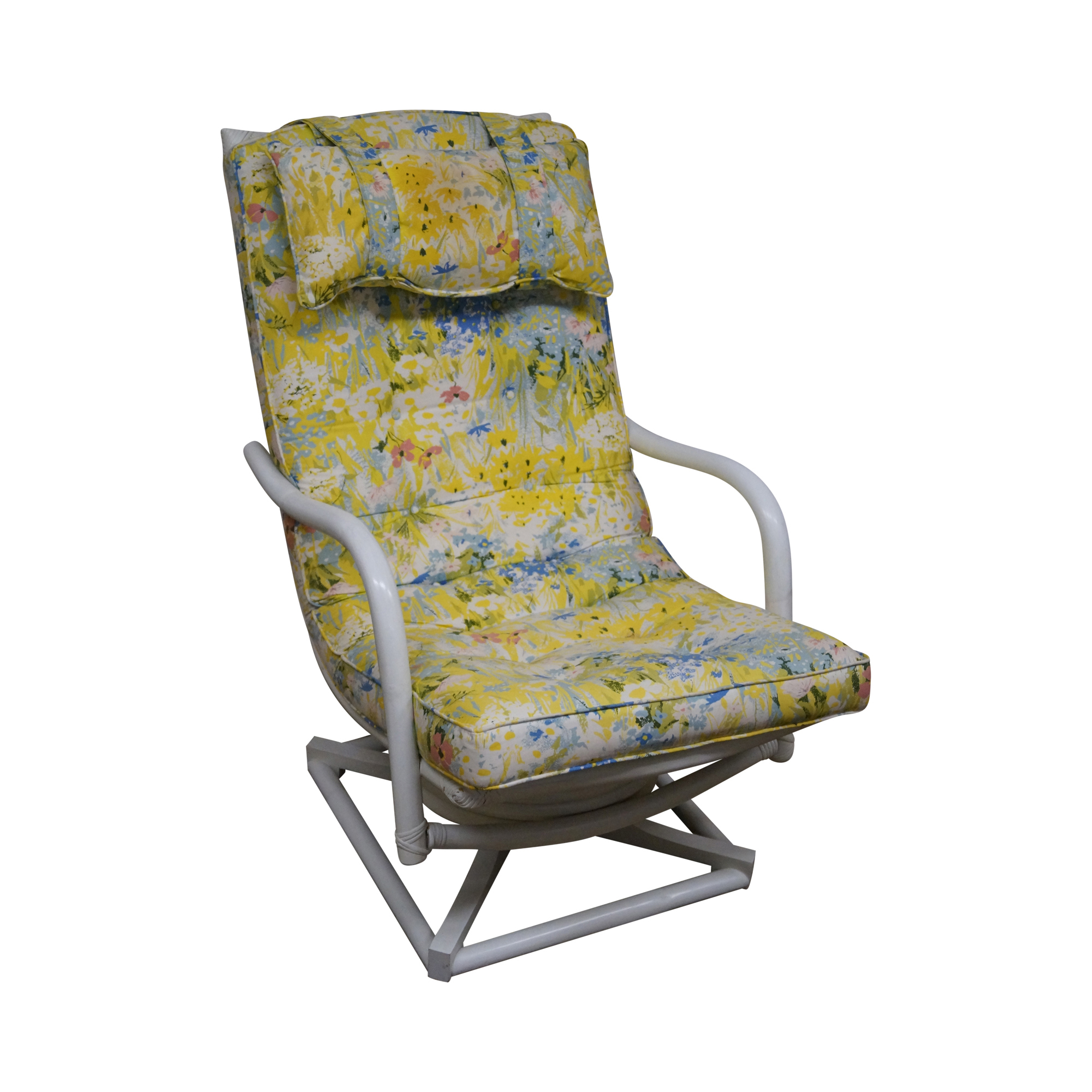 Ficks Reed Vintage Rattan Swivel Lounge Chair   Chairish