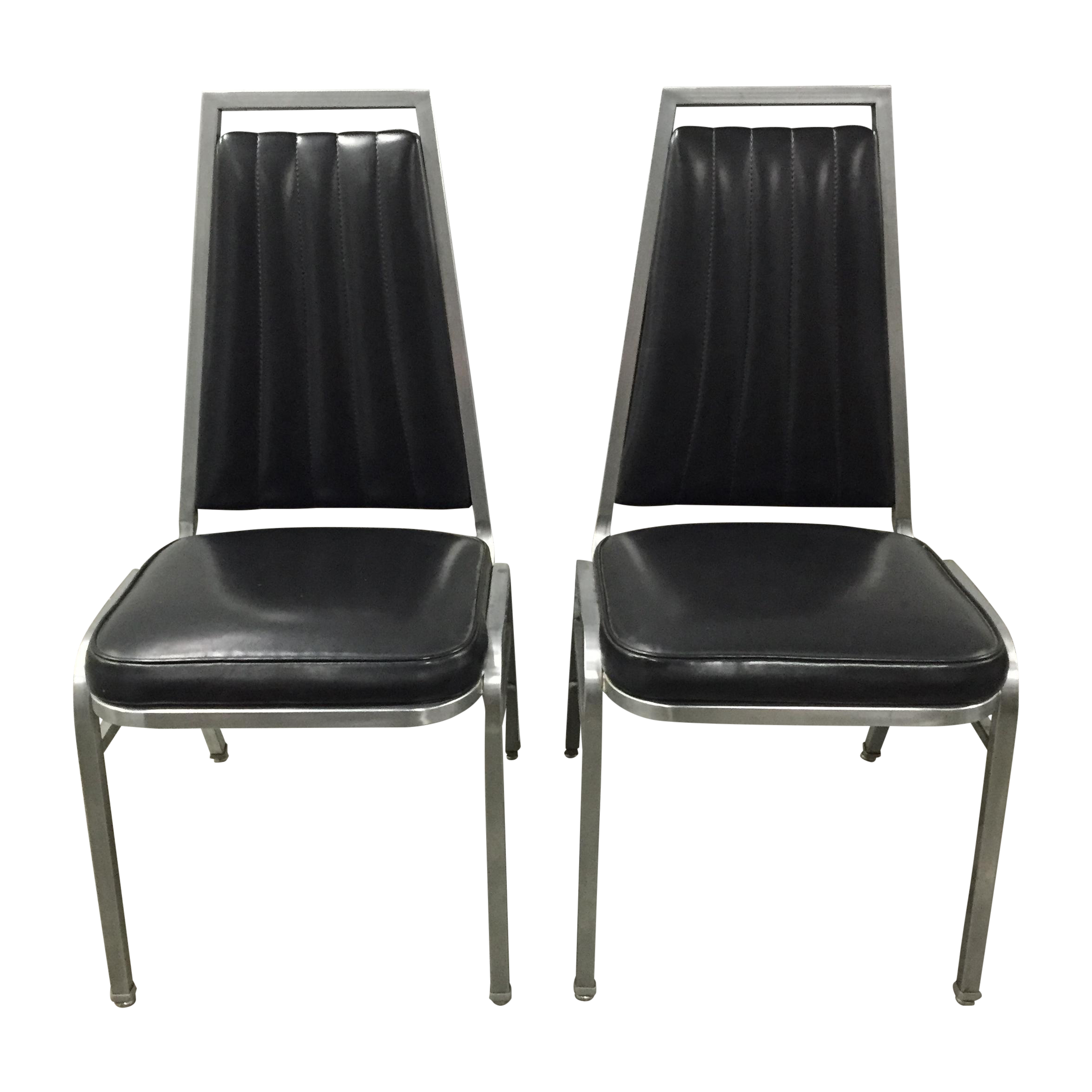 Vintage Black and Chrome Vinyl Chairs A Pair