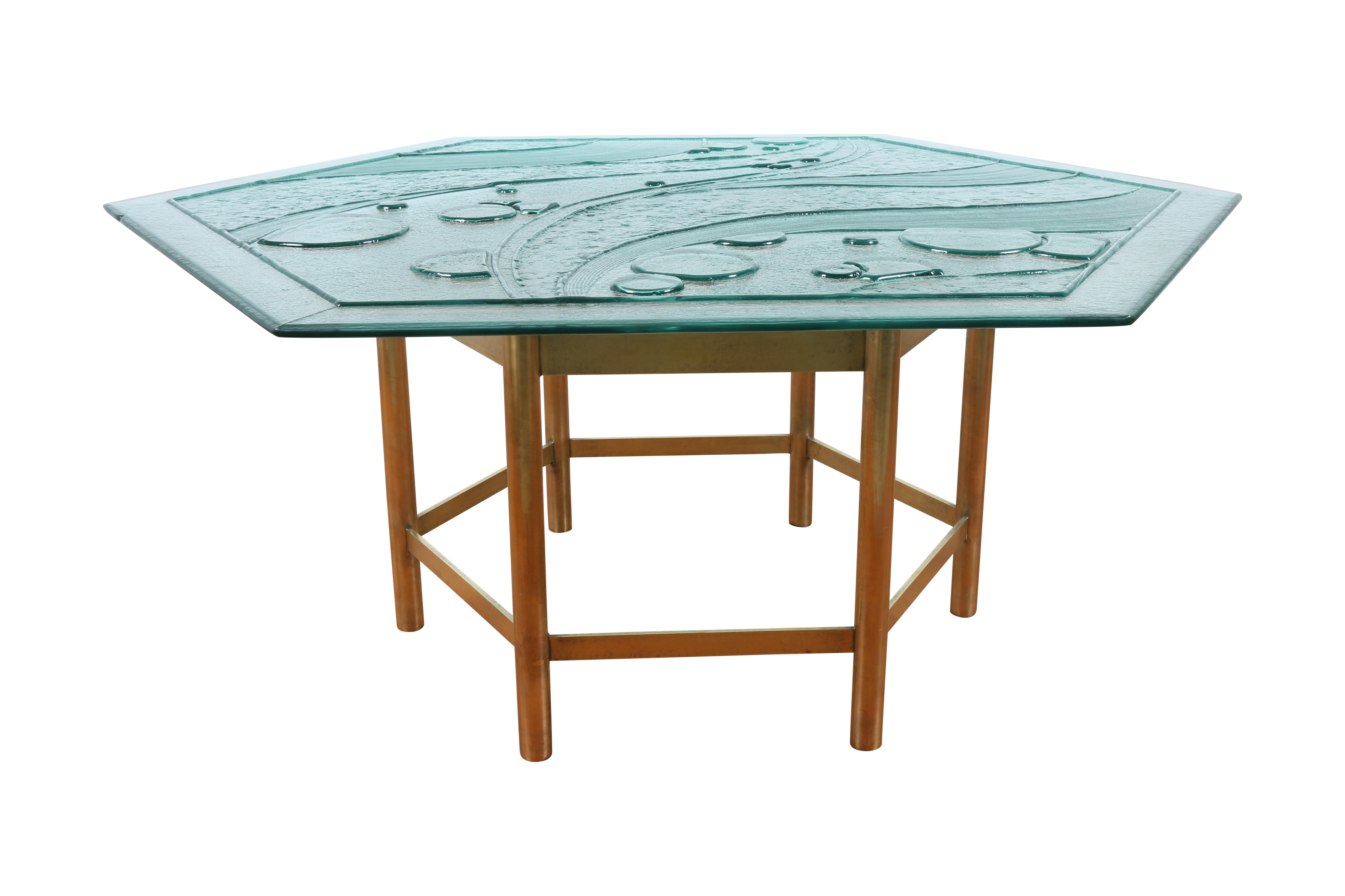 Frosted Art Deco Glass & Brass Base Dining Table