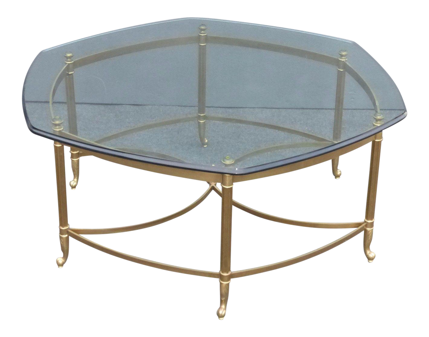 Image Of Vintage Maison Jansen Style Mid Century Octagonal Brass Glass Coffee Table