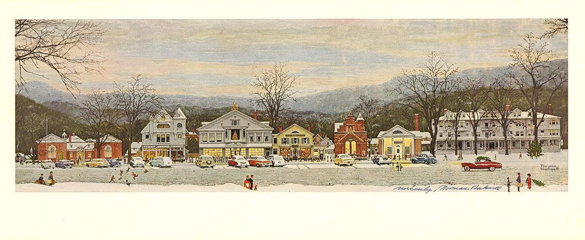 Quot Stockbridge Main Street At Christmas Quot By Norman Rockwell