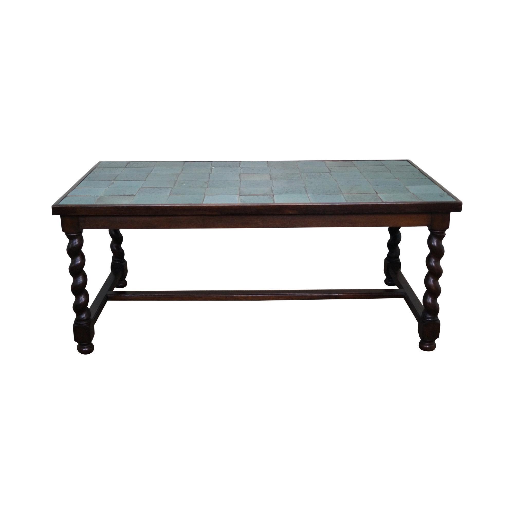 Antique Arts & Crafts Oak Barley Twist Green Tile Top Dining Table