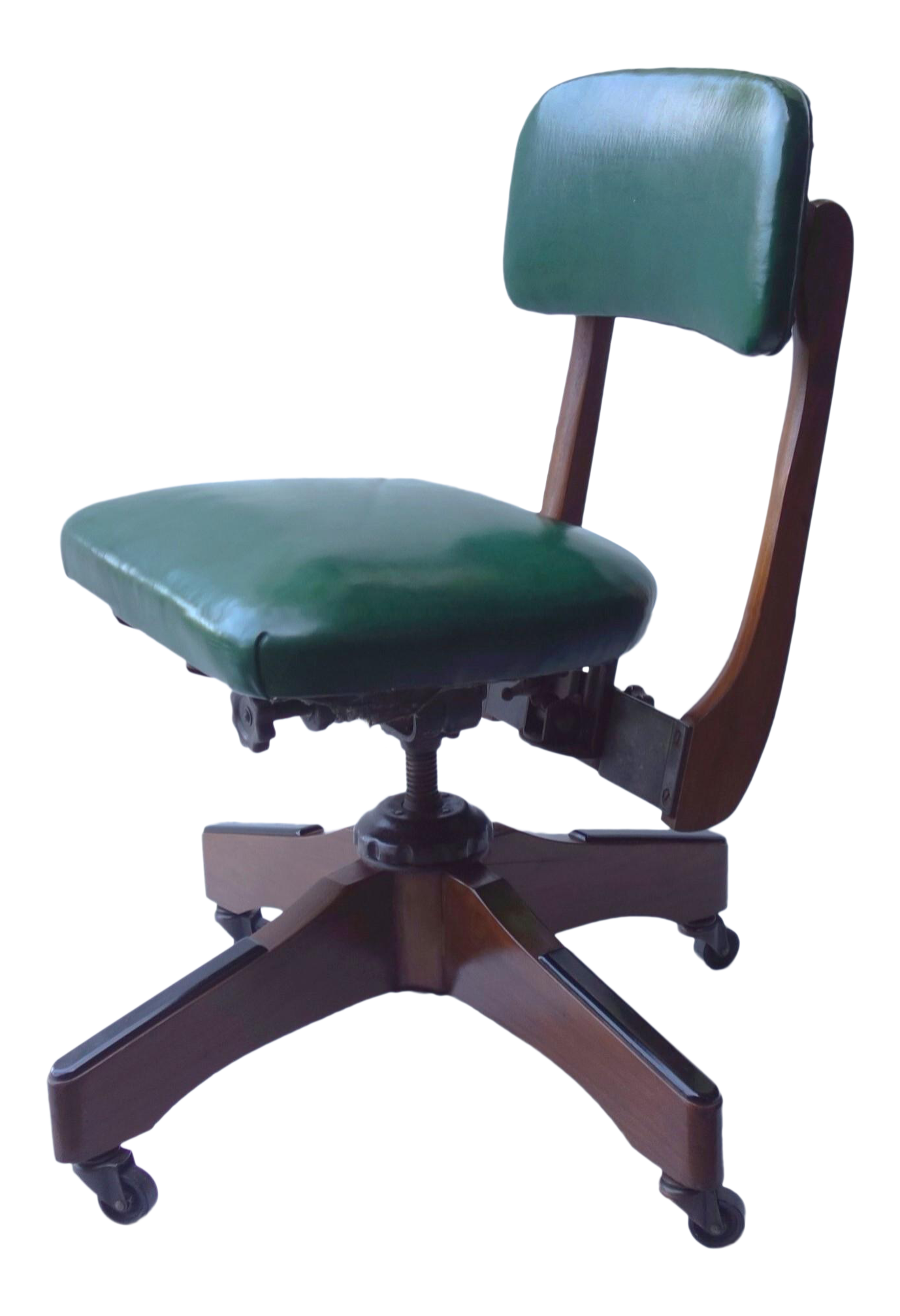 1950s Vintage Gunlocke Walnut Wood fice Chair