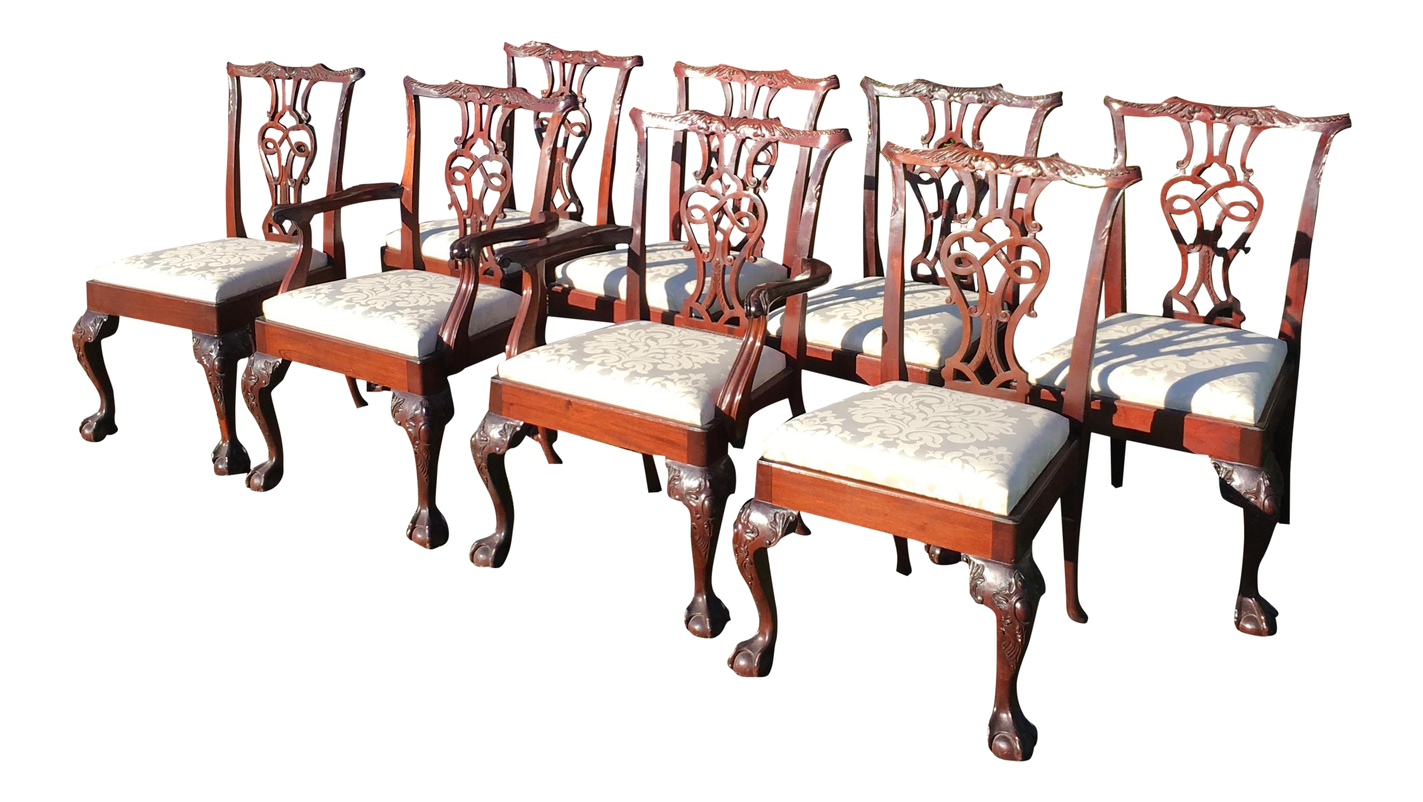 Baker Chippendale Style Dining Chairs Set of 8