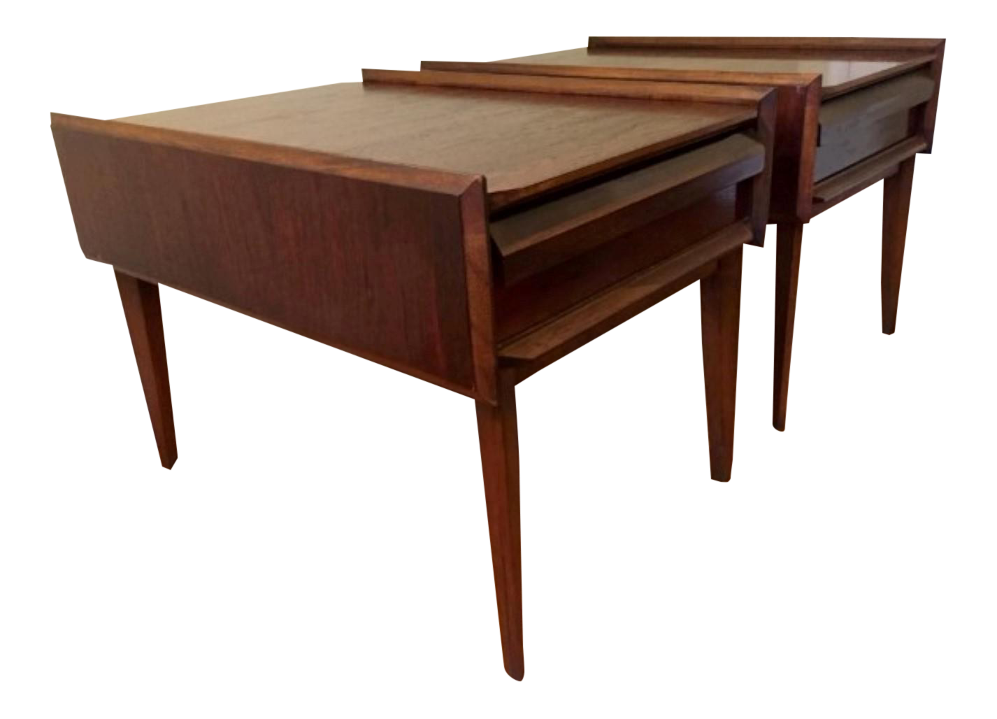 Vintage Andre Bus For Lane Furnitureu0027s First Edition Collection Walnut Side  Tables    A Pair