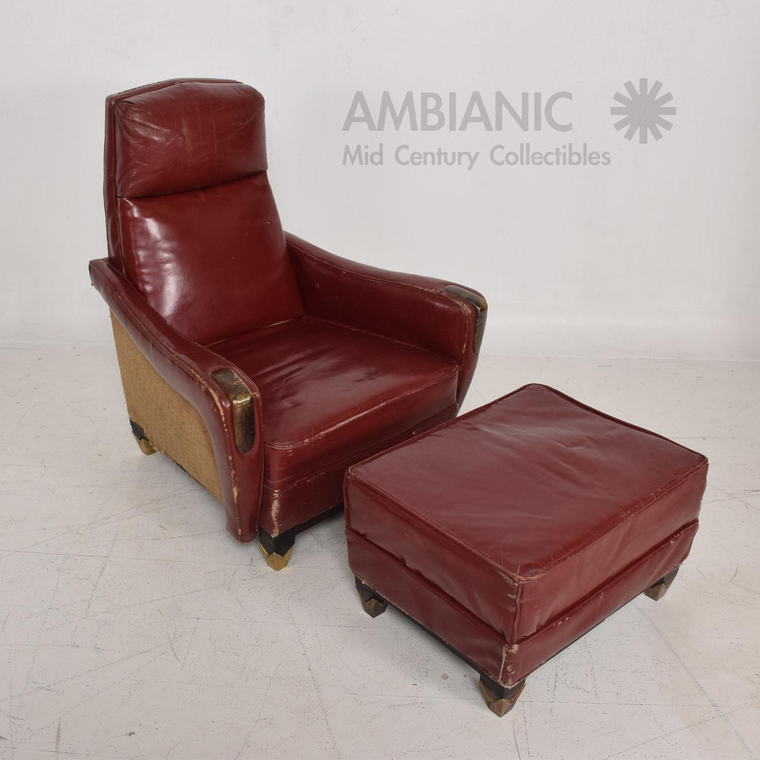 Luxury Mexican Modernist Tall Club Chair Ottoman Red Leather Brass
