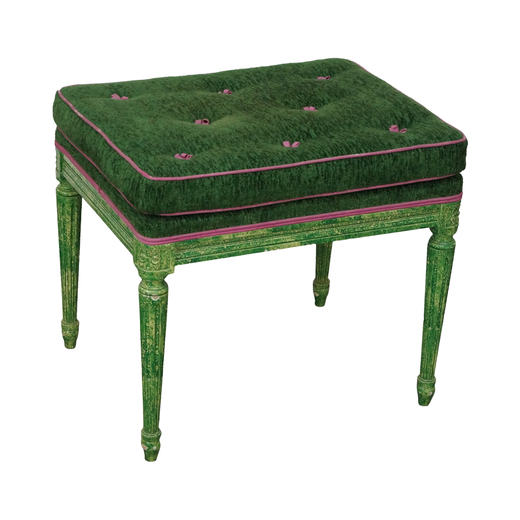 Vintage Louis Xvi Custom Faux Green Painted Bench Chairish