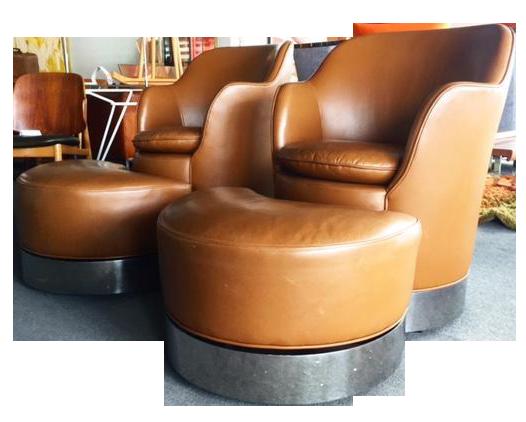 J Robert Scott Phillip Enfield Swivel Chairs And Ottomans Chairish
