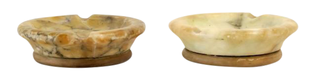 Alabaster wood ashtrays pair chairish for Furniture 63366