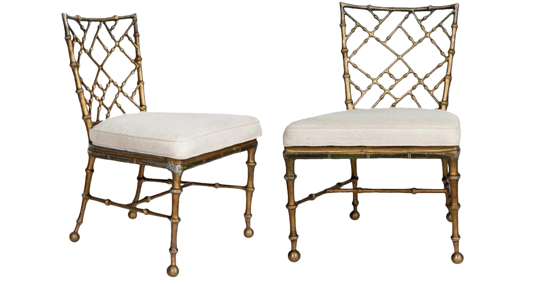 Bamboo chippendale chairs - Image Of Rare Vintage Brass Bamboo Chippendale Chairs A Pair