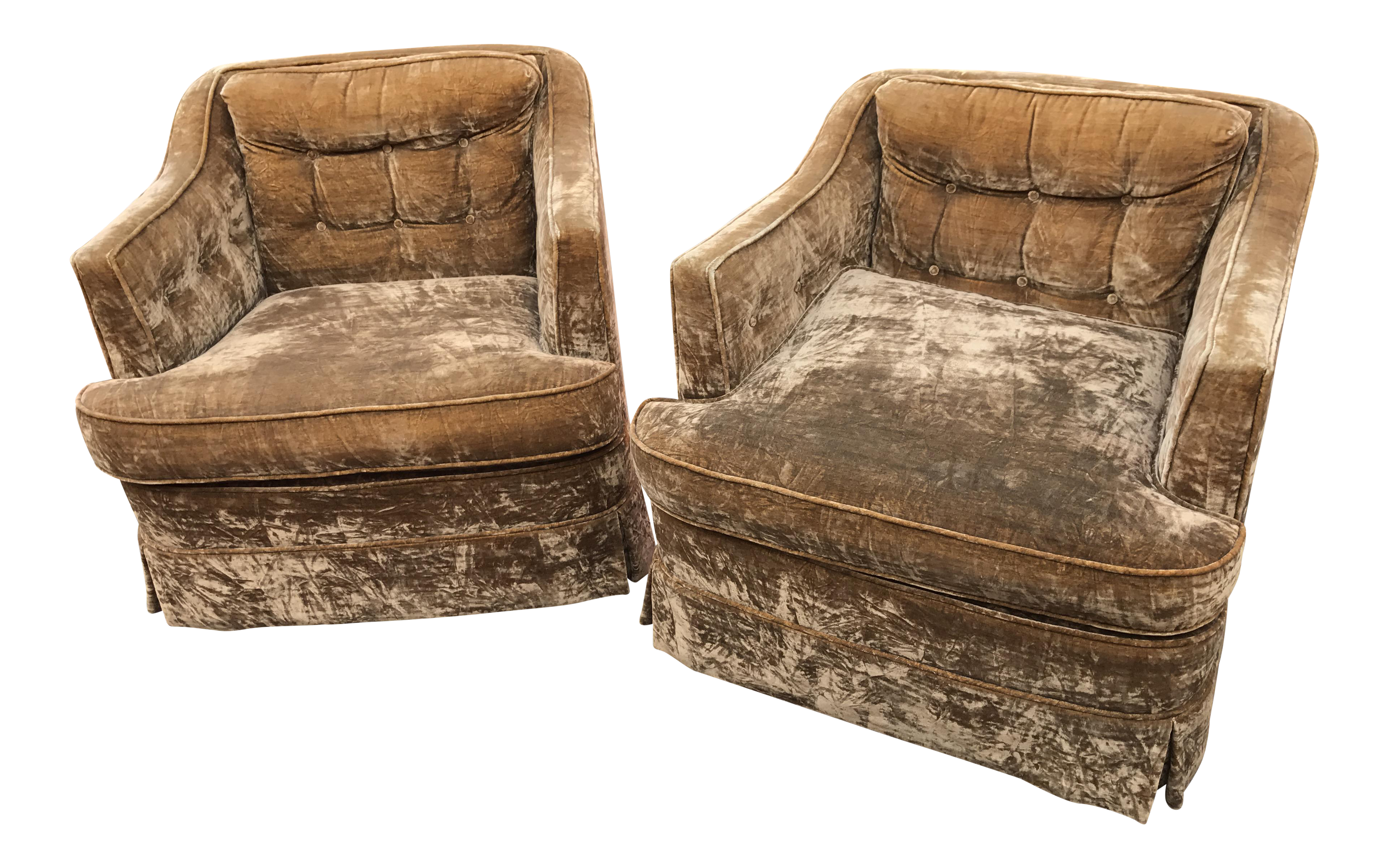 Mid-Century Gold Crushed Velvet Club Chairs