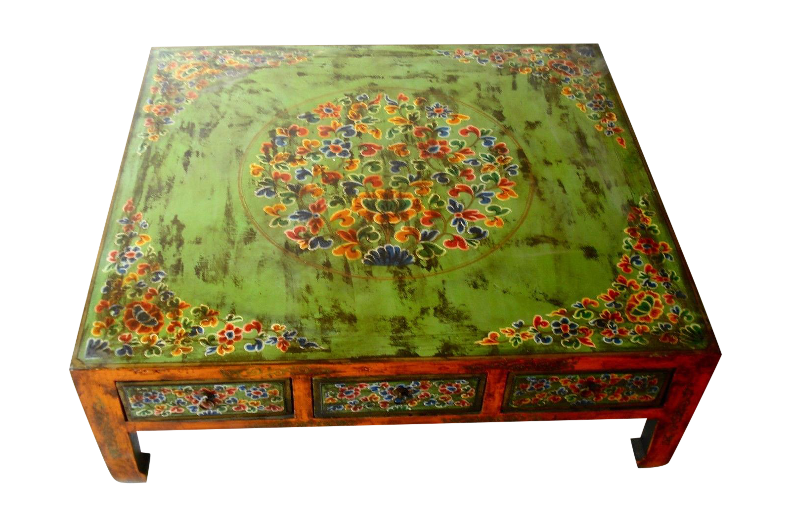 Hand painted tibetan coffee table chairish geotapseo Image collections