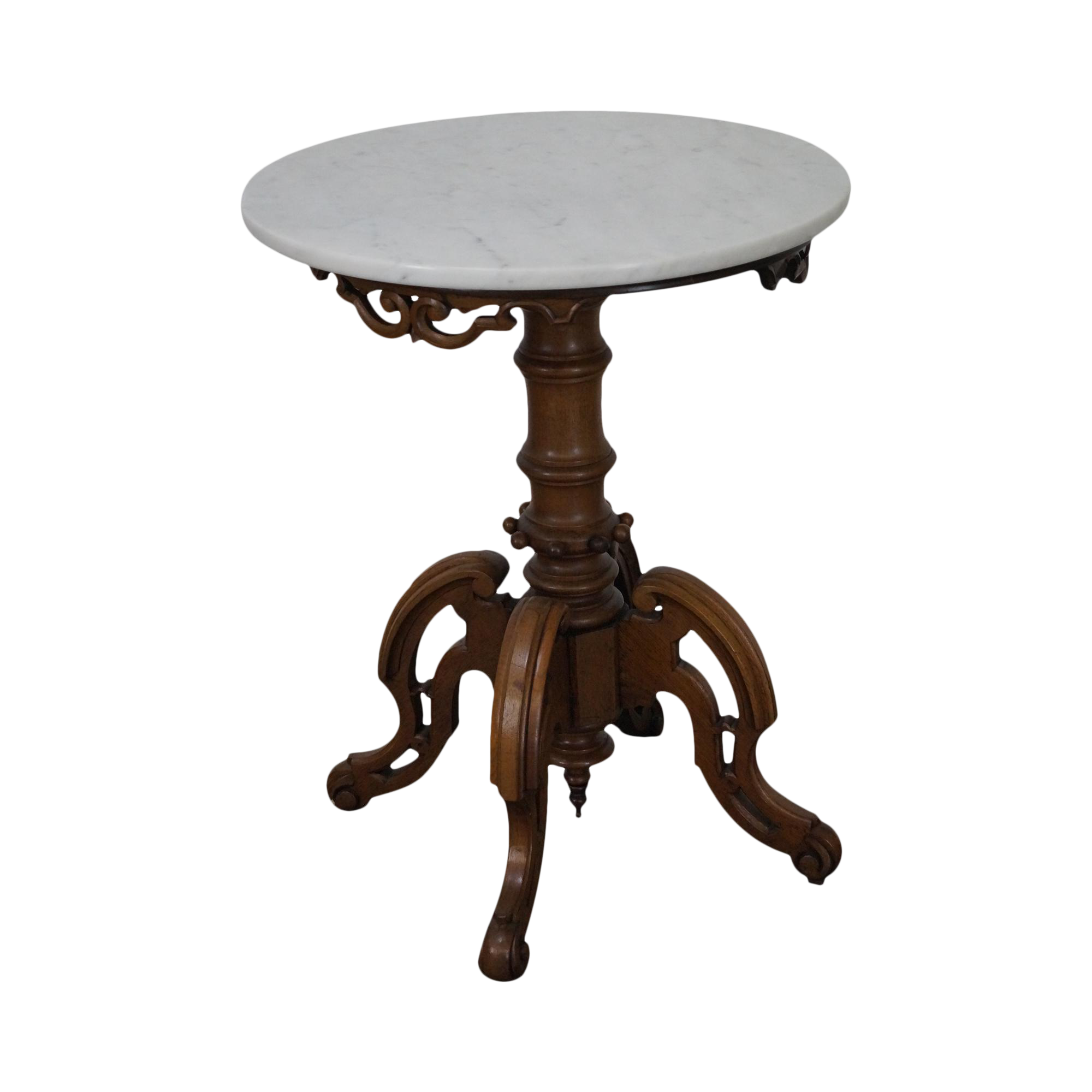 antique thomas brooks victorian round marble top table chairish. Black Bedroom Furniture Sets. Home Design Ideas