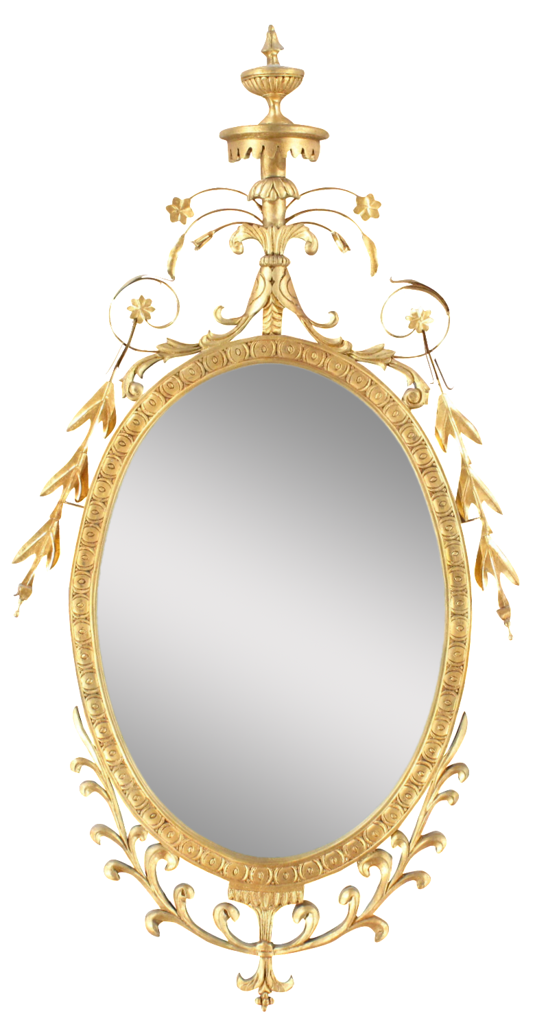 Pasargad Ny Adam Style Oval Mirror In Gold Metal Leaf