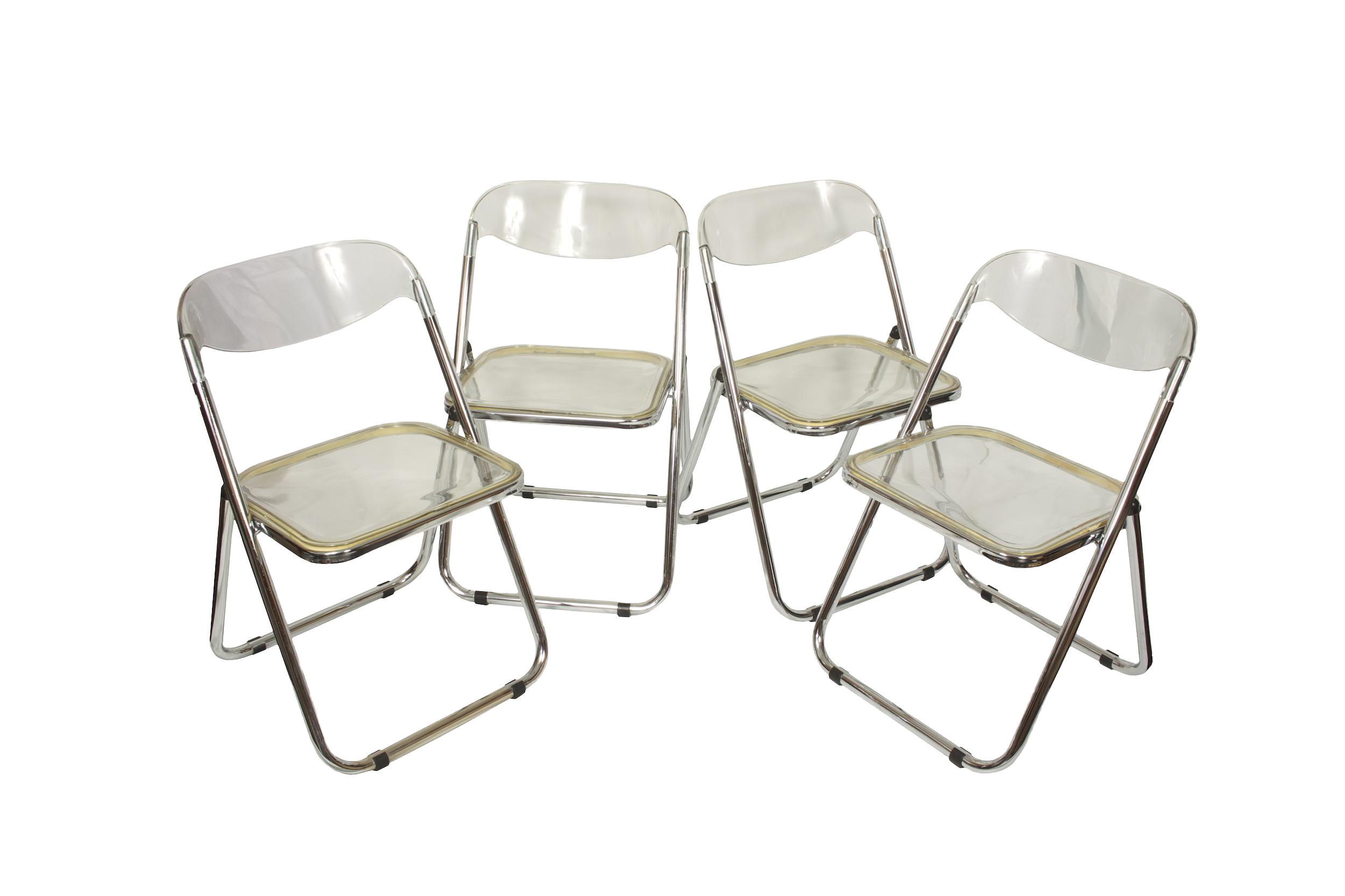 Italian Mid Century Lucite Folding Chairs Set of 4