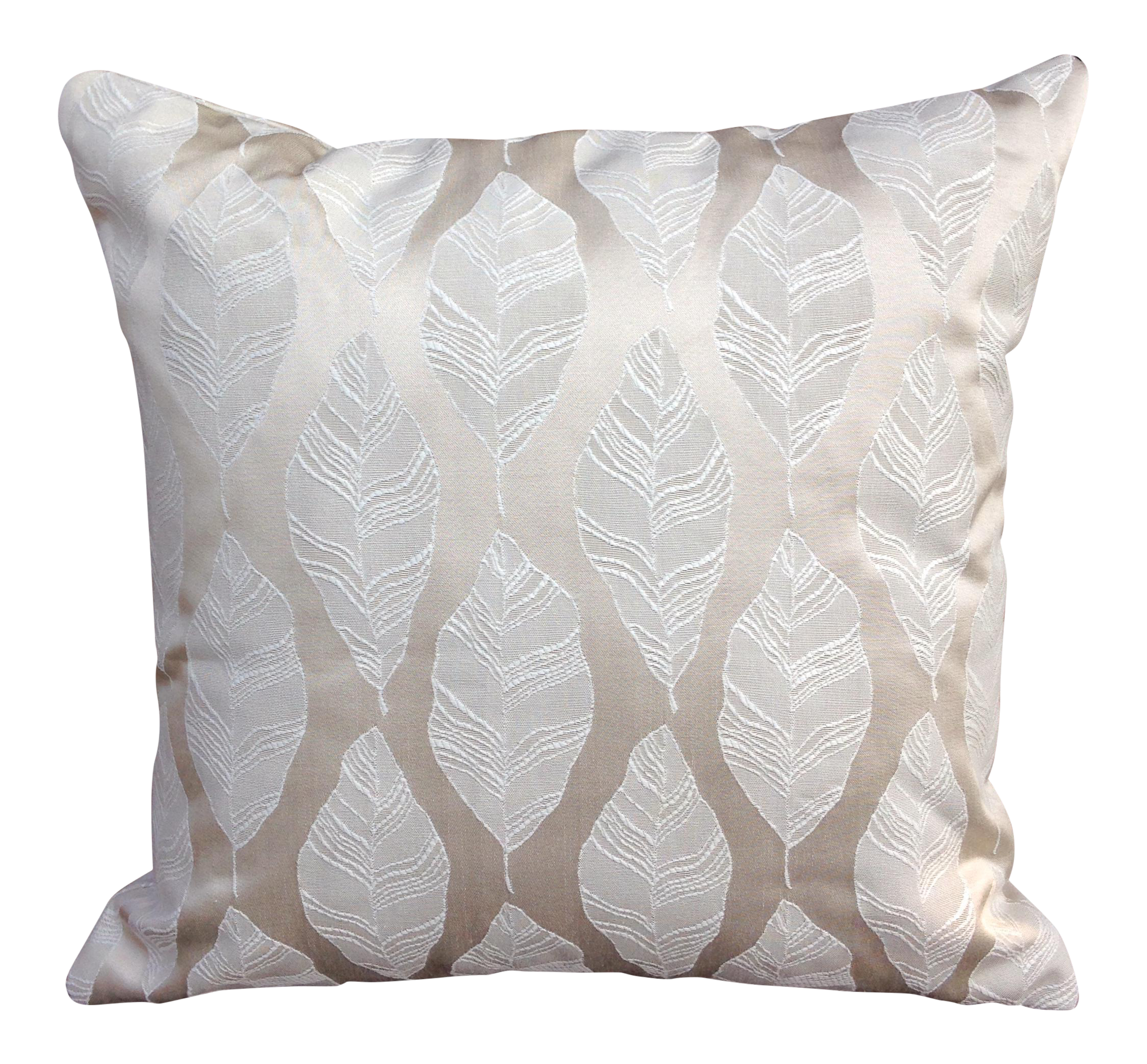 Cream and gold embroidered leaf print pillow chairish
