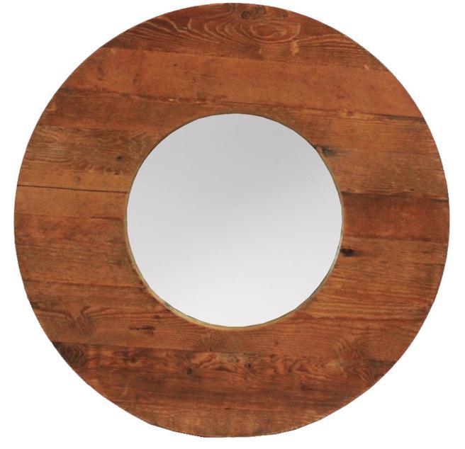 Round Wood Mirror Chairish