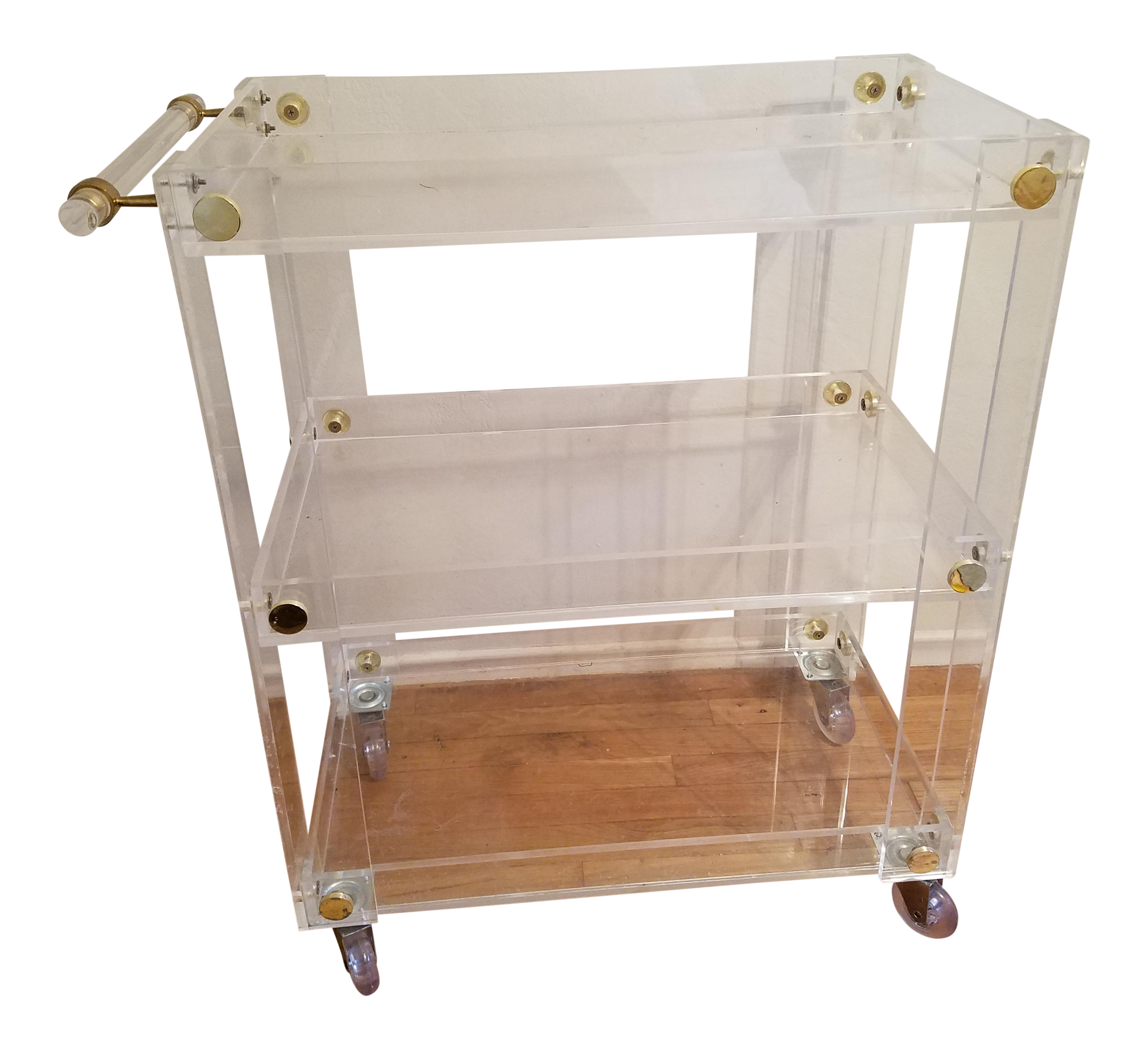 Custom lucite bar cart chairish for 0co om cca 9 source table