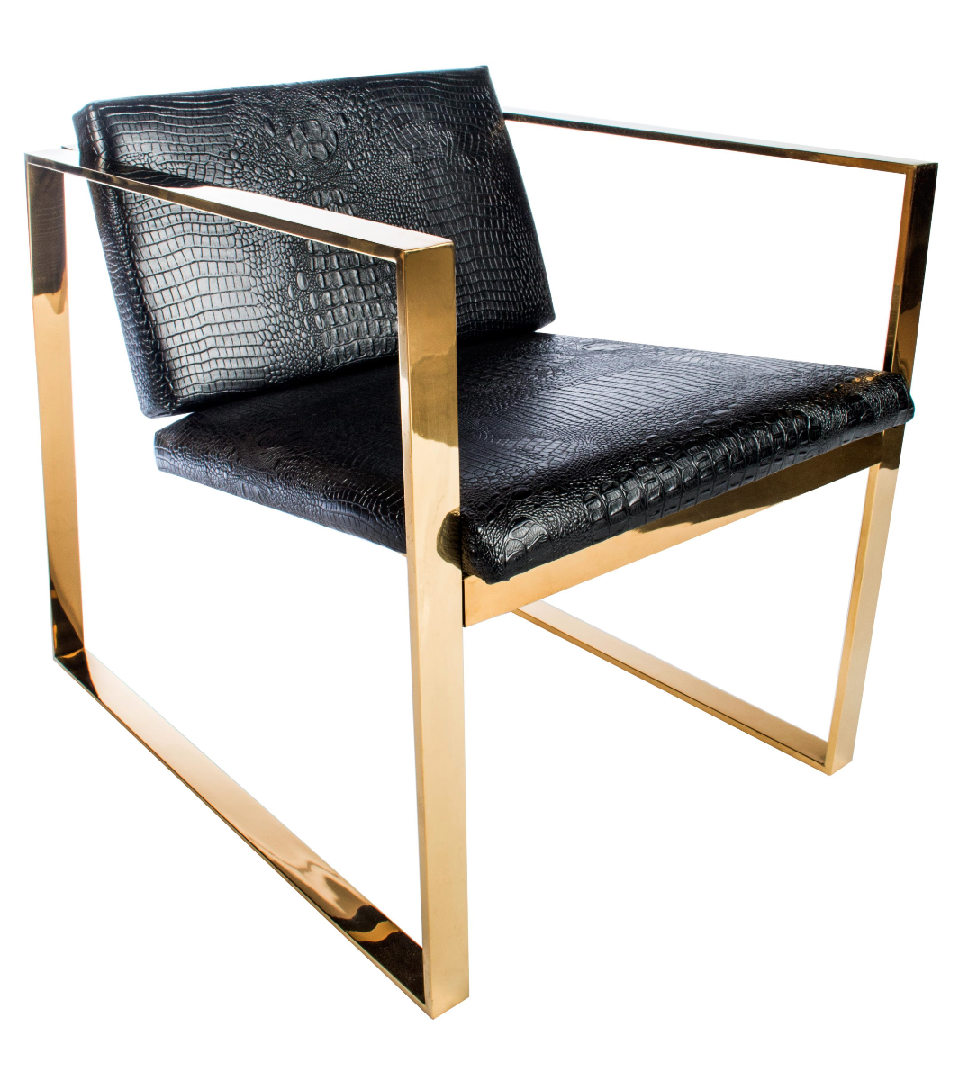 philippe gold and black croc lounge club accent chair chairish. Black Bedroom Furniture Sets. Home Design Ideas