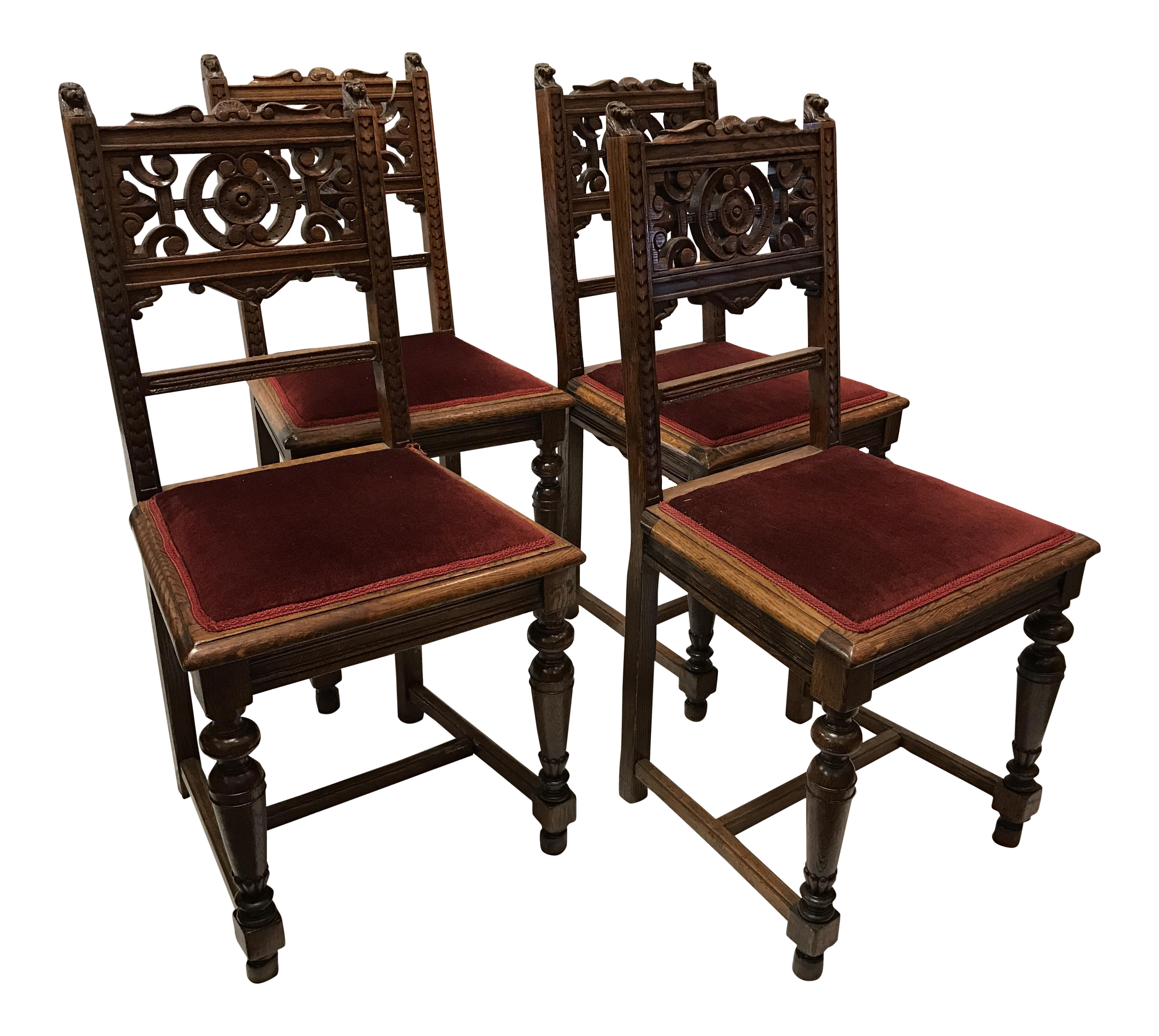 Victorian Dining Room: Antique Victorian Dining Room Chairs - Set Of 4