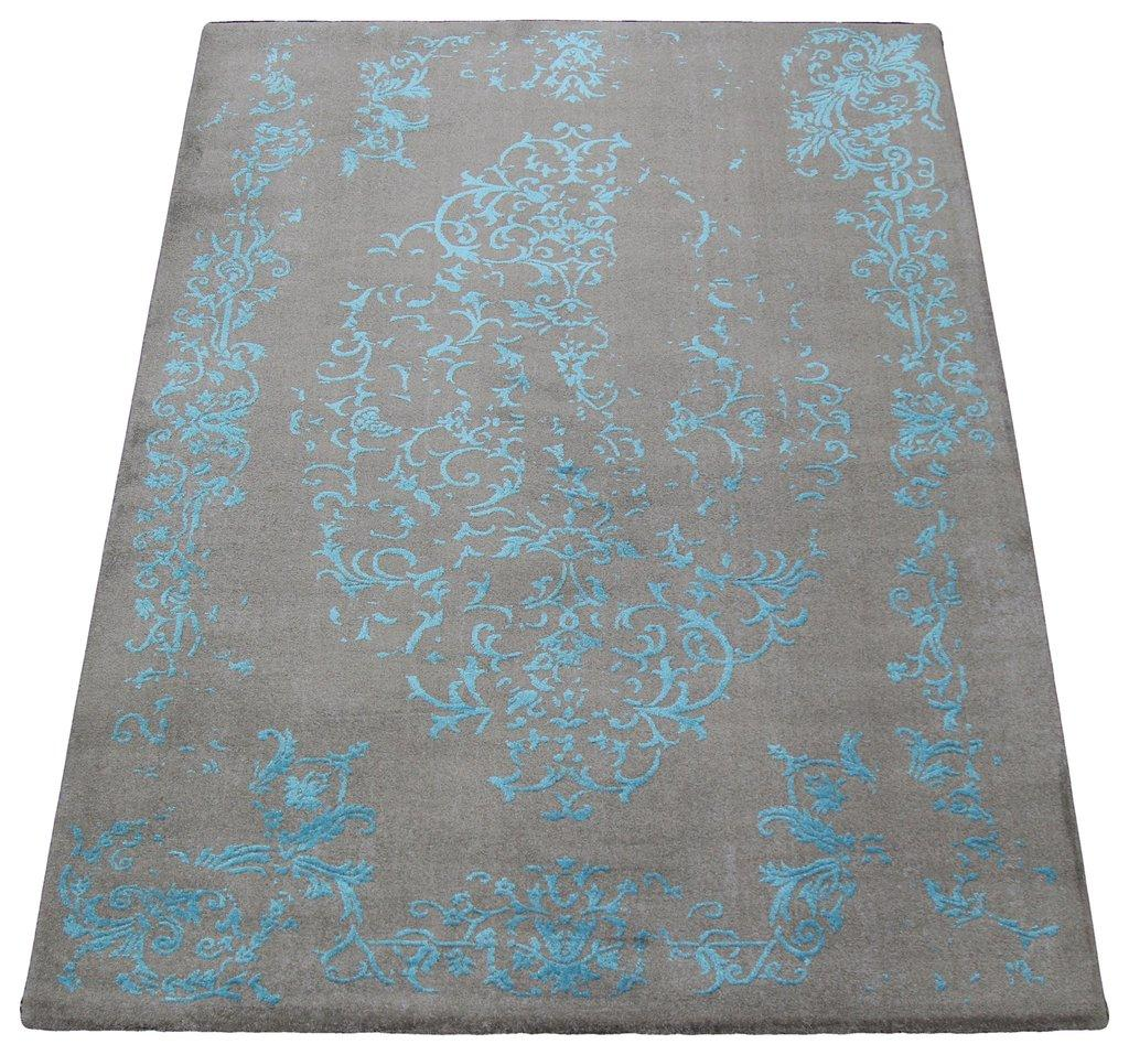 Florida Gray Turquoise Area Rug: Gray & Turquoise Floral Pattern Rug - 4′5″ × 7′7″