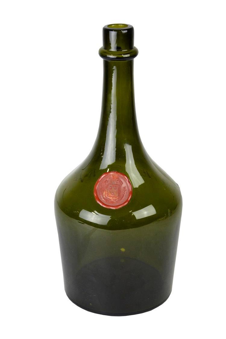 Vintage French Green Liquor Bottle Chairish