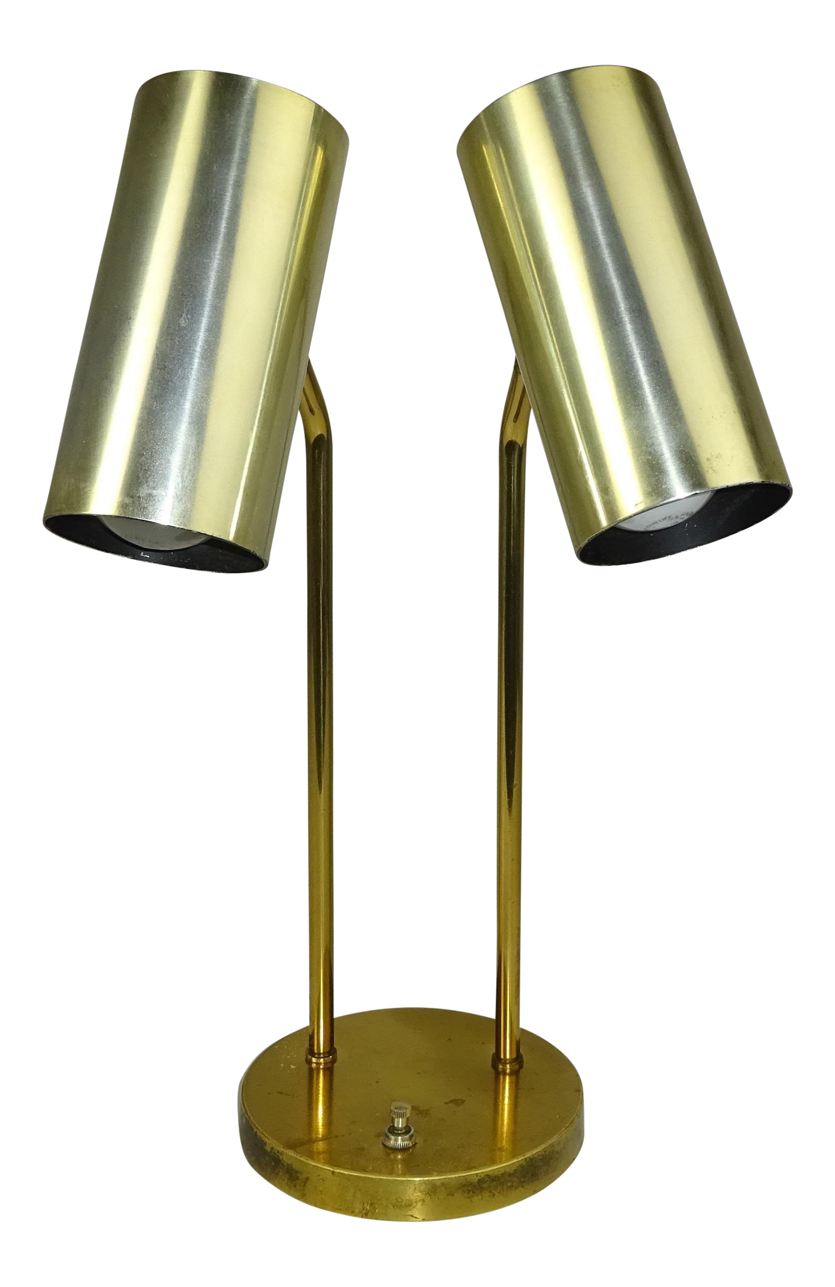 Koch lowy omi double cylindrical shade brass table lamp chairish geotapseo Gallery