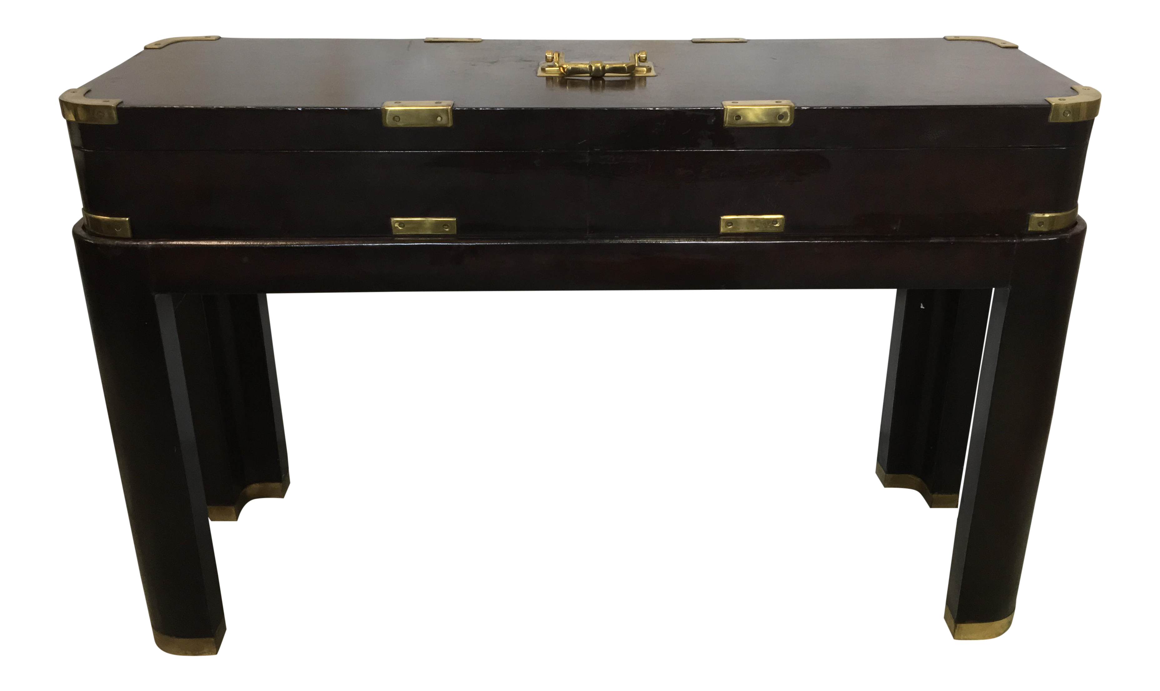 Maitland Smith Campaign Style Trunk On Stand Console