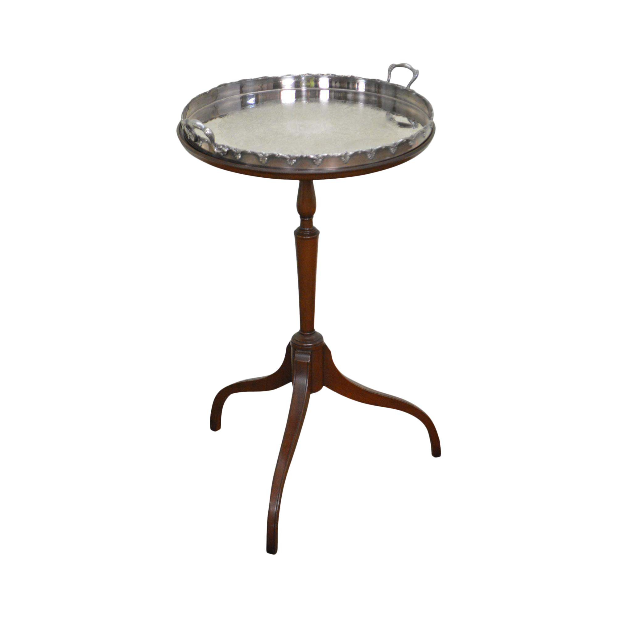 Kittinger Mahogany Wine Table w Silver Tray