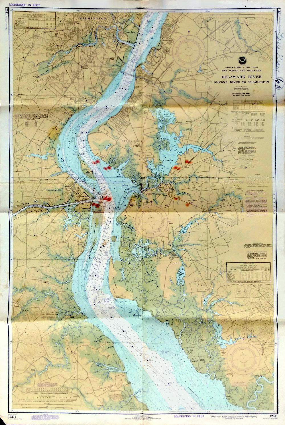 Vintage Delaware River Nautical Chart 1977 Chairish