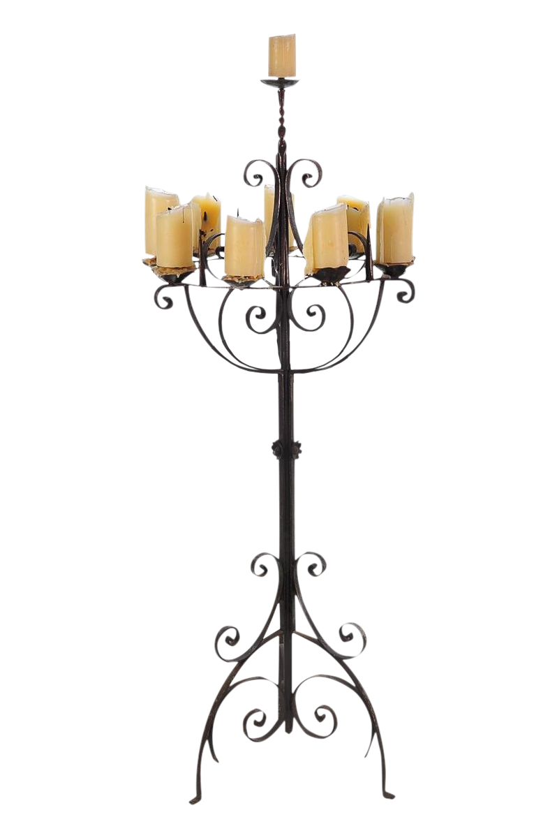 Spanish Revival Wrought Iron 8 Arm Candle Holder Chairish