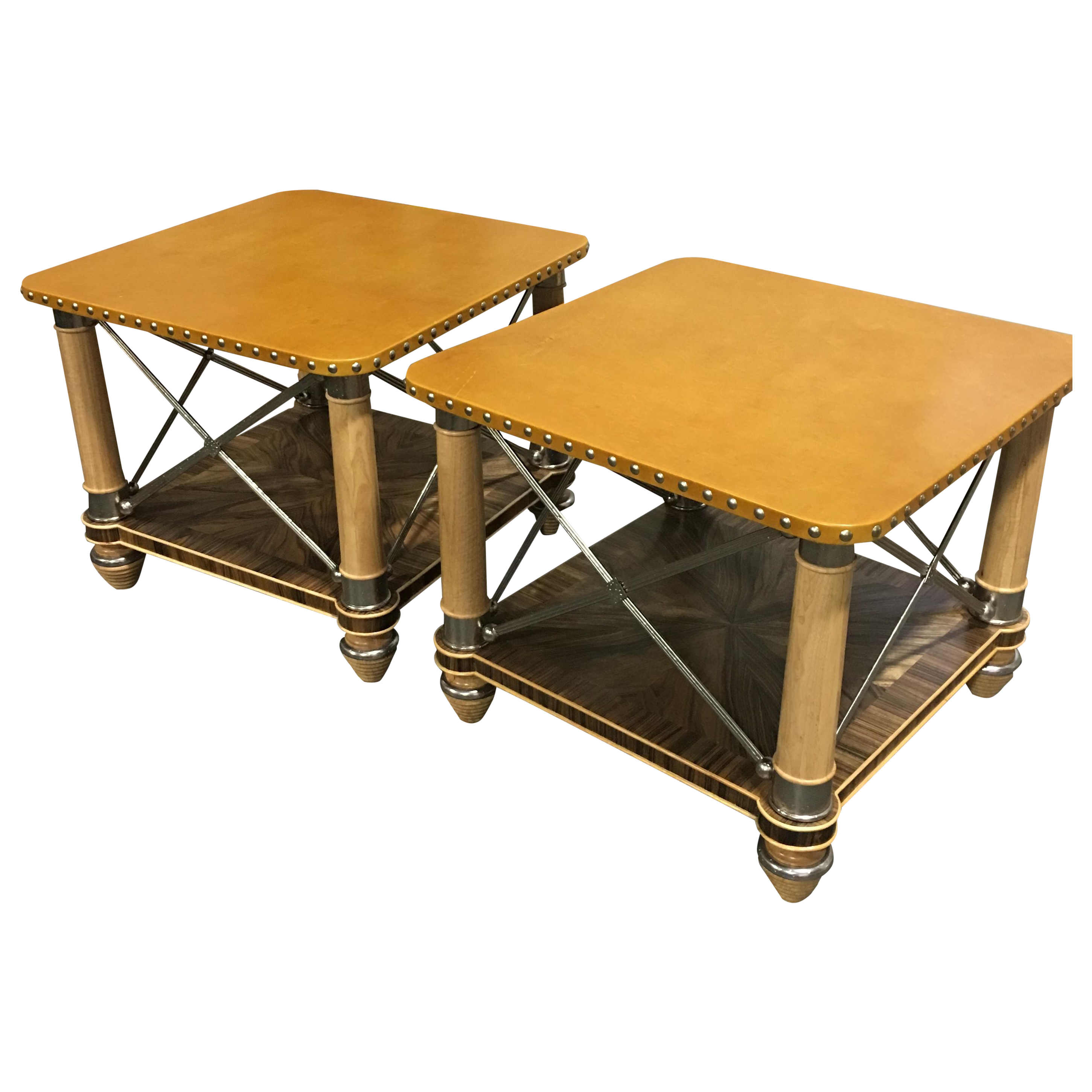 Ferguson Copeland Leather Top Side Tables A Pair Chairish