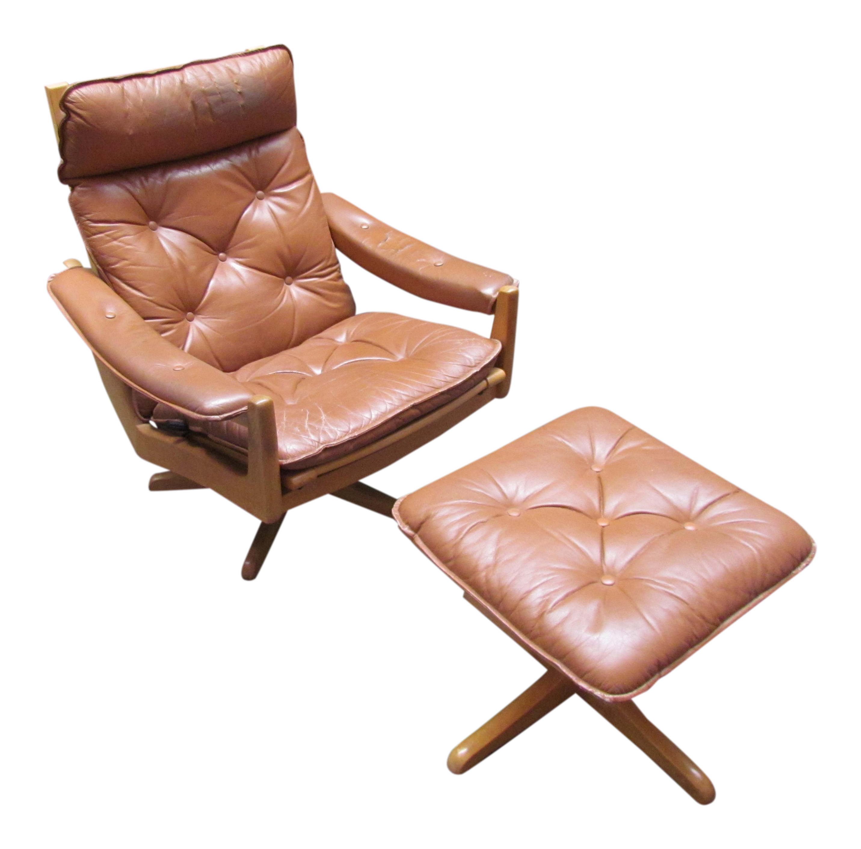 Lied Mobler Mid Century Leather Recliner Chair & Ottoman