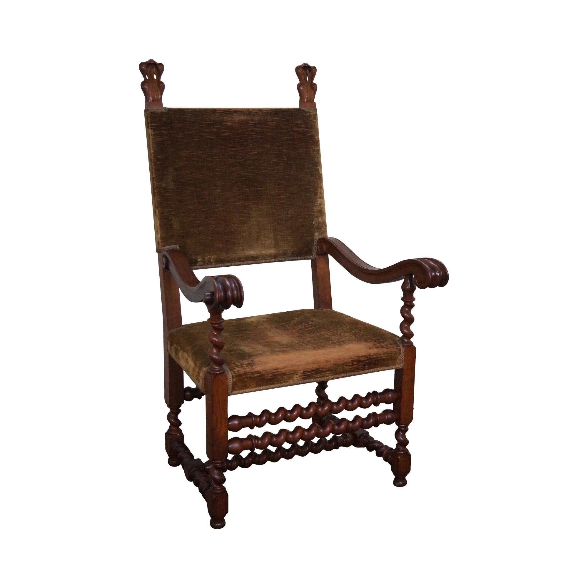 Antique 19th C. Renaissance Revival Barley Twist Throne ...