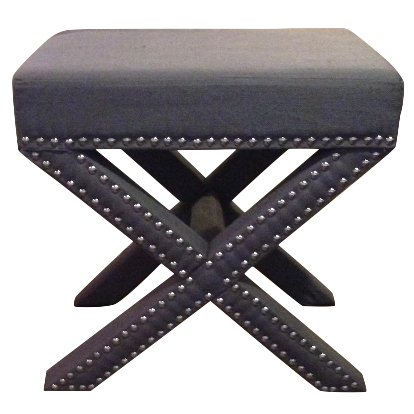 Grey X-Bench With Nailhead Trim Gray Ottoman Stool | Chairish