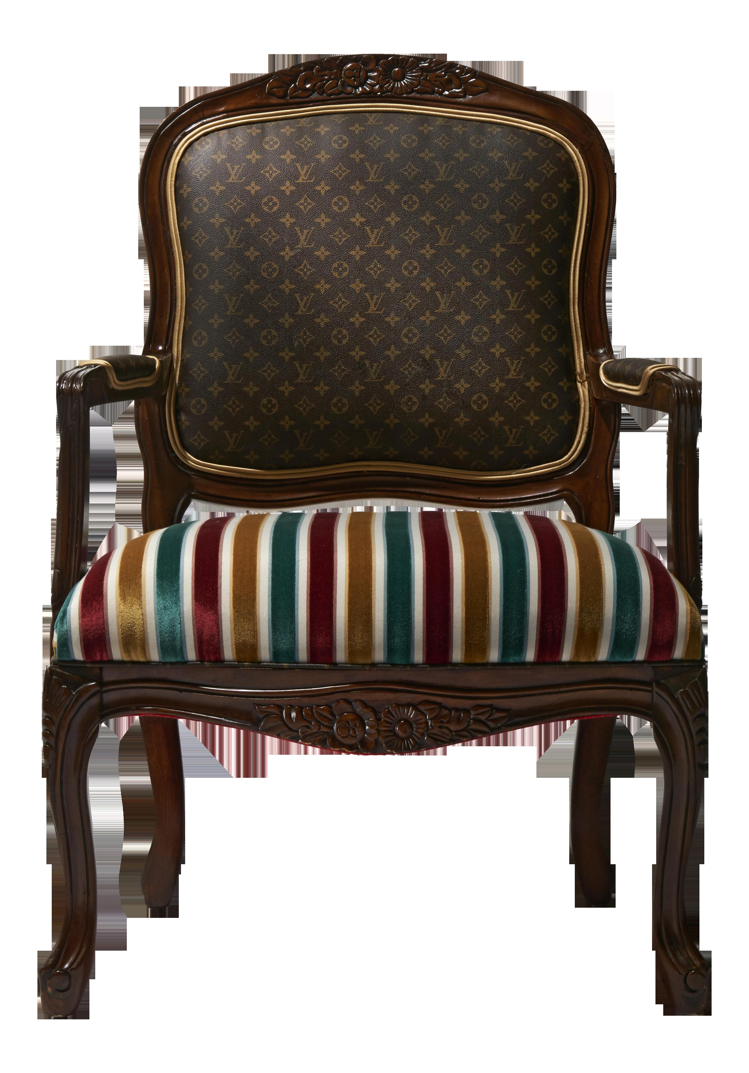 Louis Xv Chair With Louis Vuitton Canvas Chairish