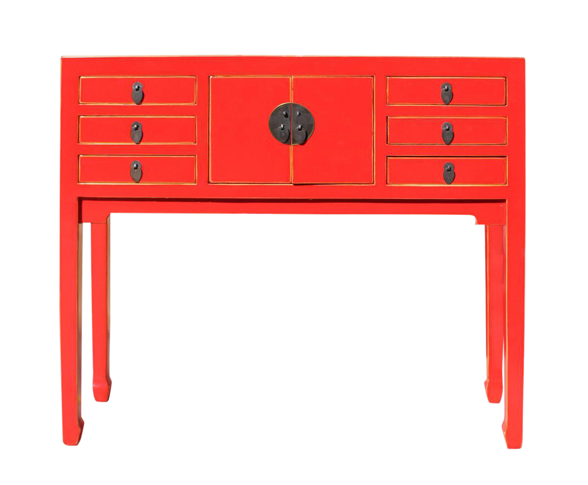 Foyer Table Red : Chinese distressed red narrow foyer table chairish