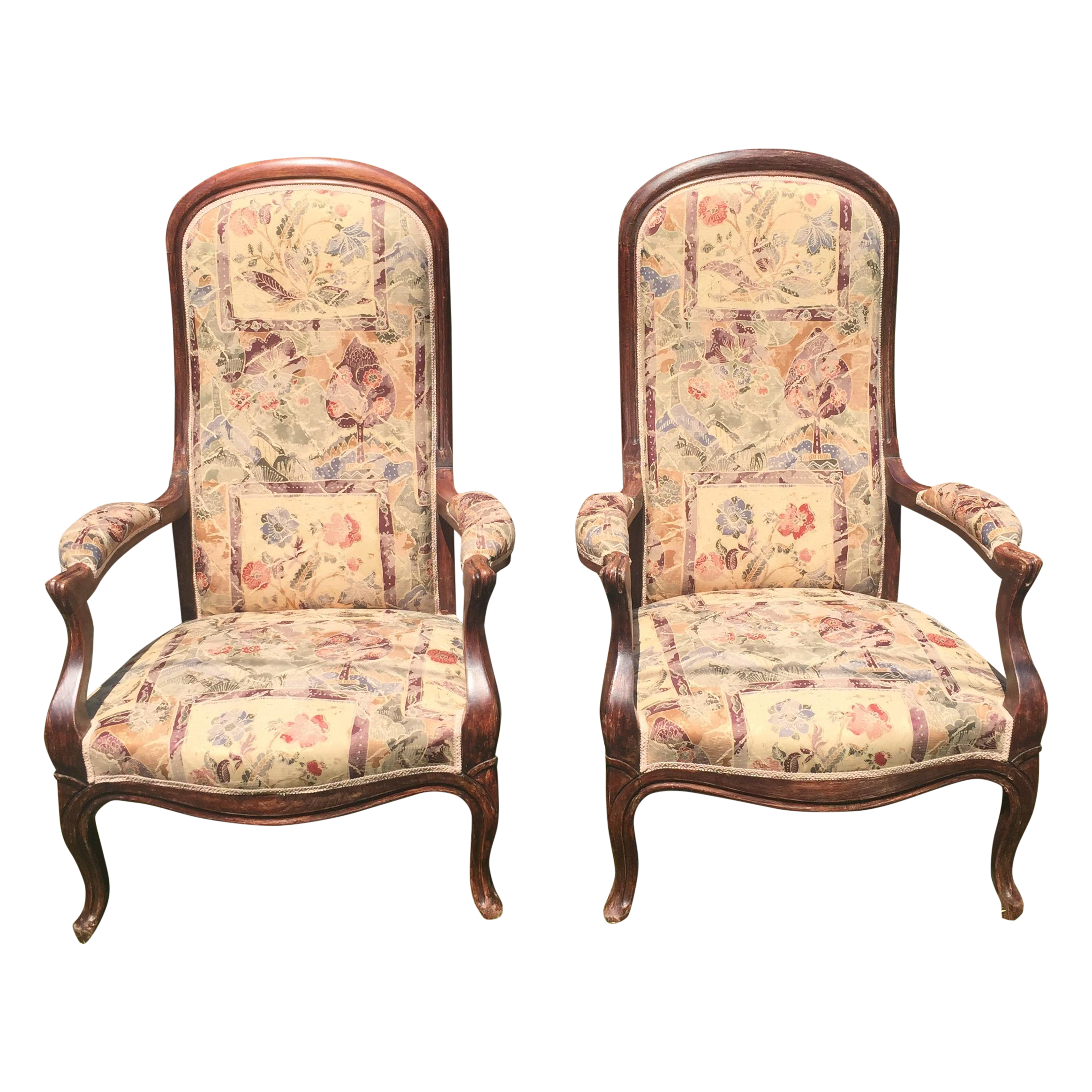 Antique victorian parlor chairs - Image Of Vintage Victorian High Back Parlor Chairs A Pair