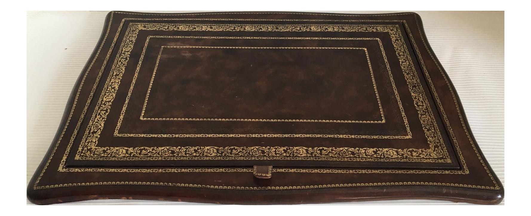 Ralph Lauren Gold Embossed Leather Writing Desk Blotter