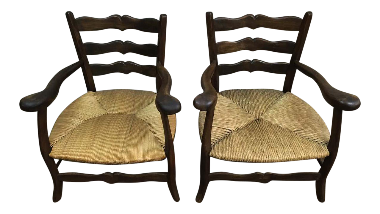 antique french countryside captain u0026 39 s chairs rush seat  late 18th century