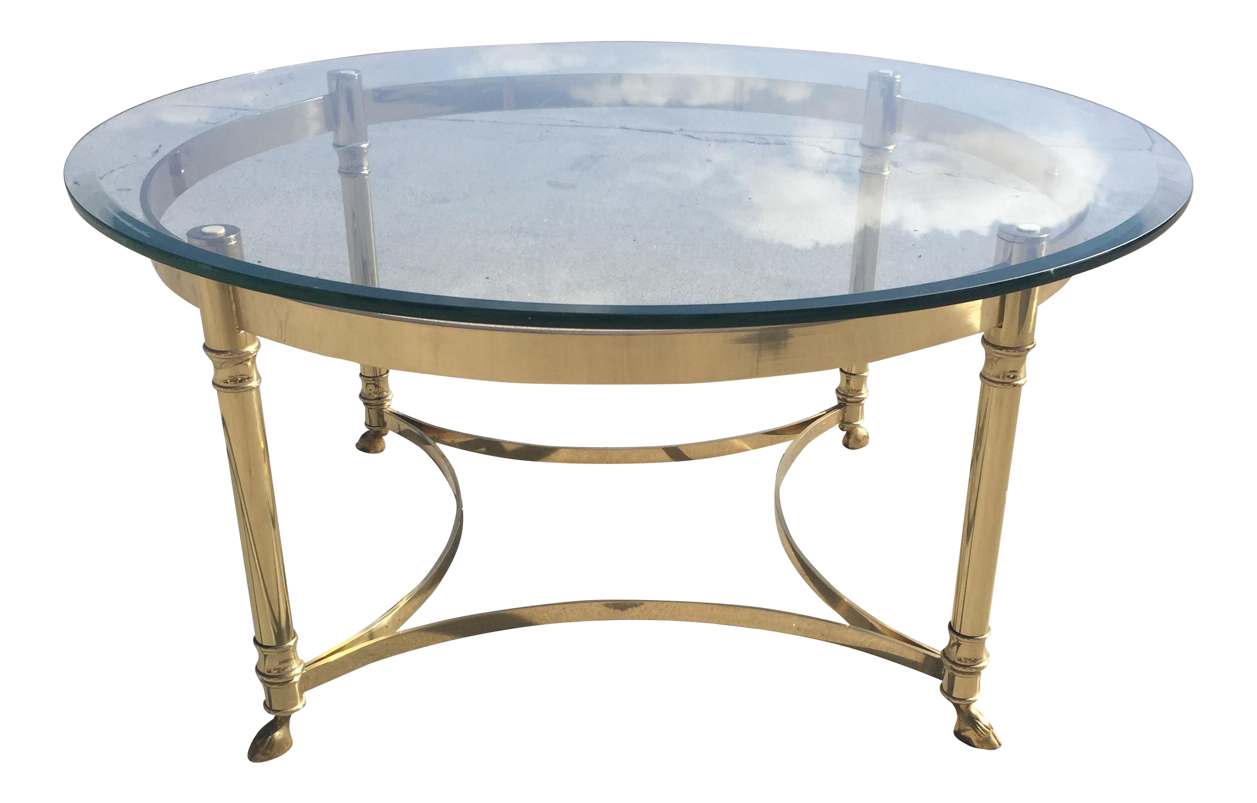 Image Of Labarge Hollywood Regency Round Glass Coffee Table