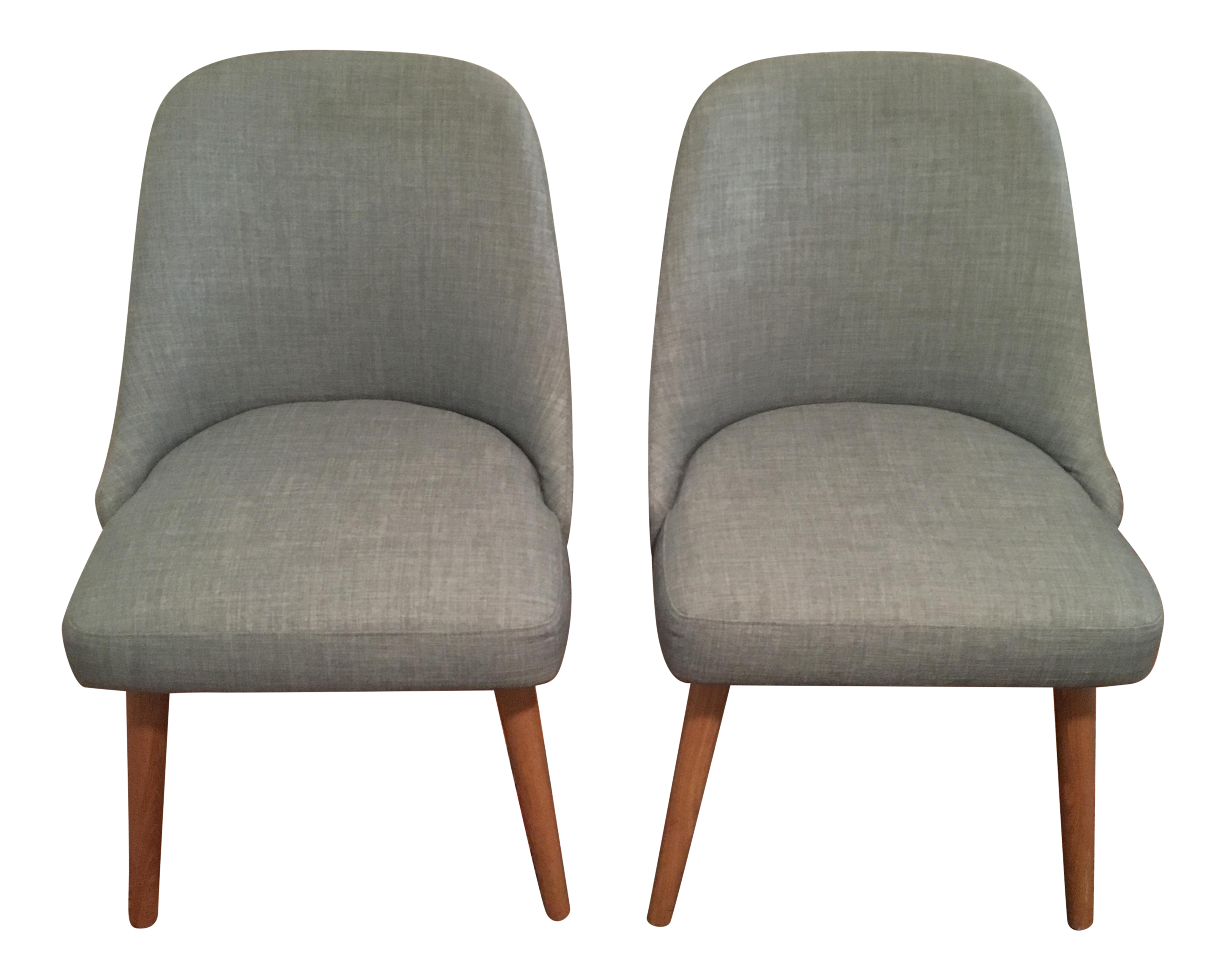 west elm mid century upholstered dining chairs a pair chairish. Black Bedroom Furniture Sets. Home Design Ideas