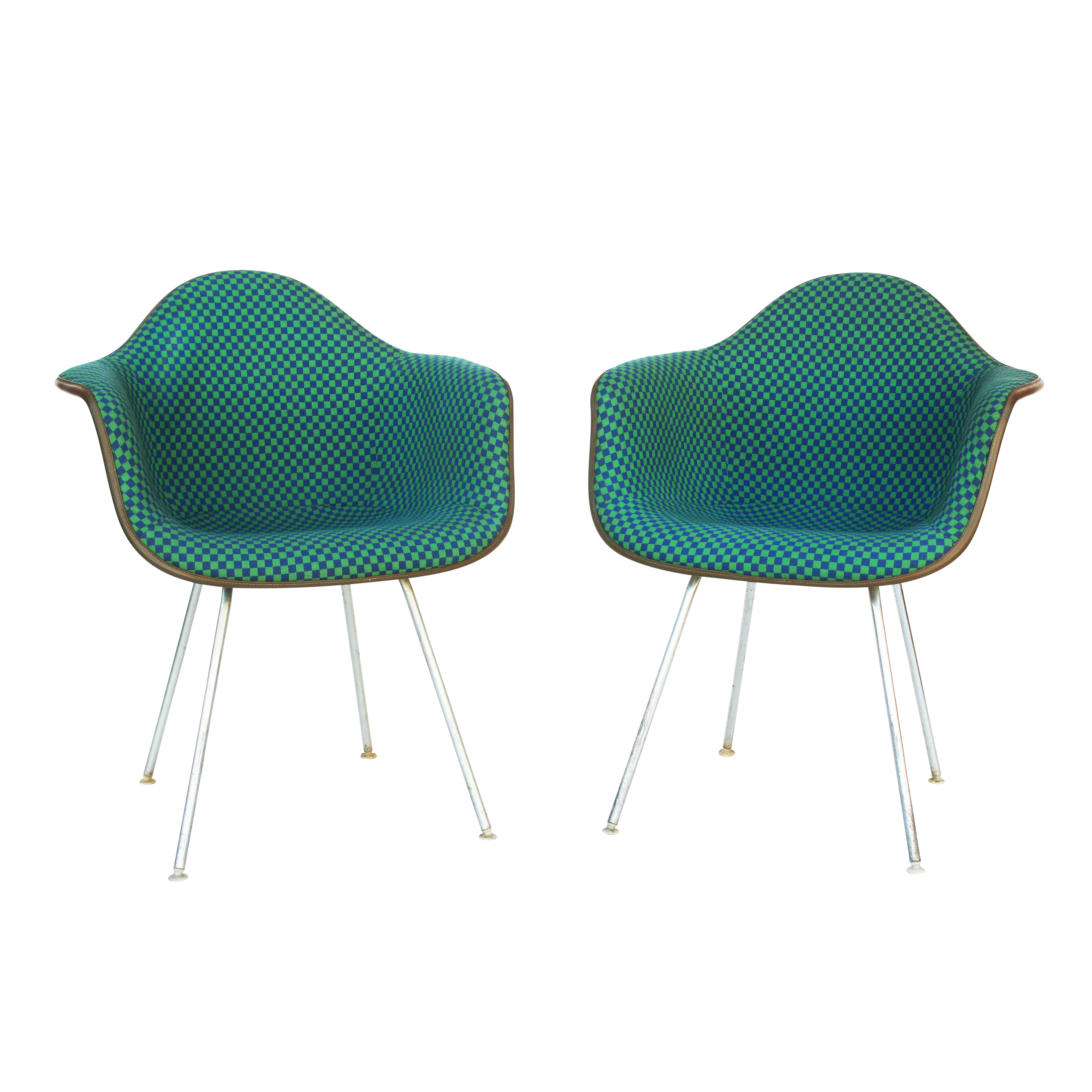 Herman Miller Arm Shell Chairs in Alexander Girard Check A Pair